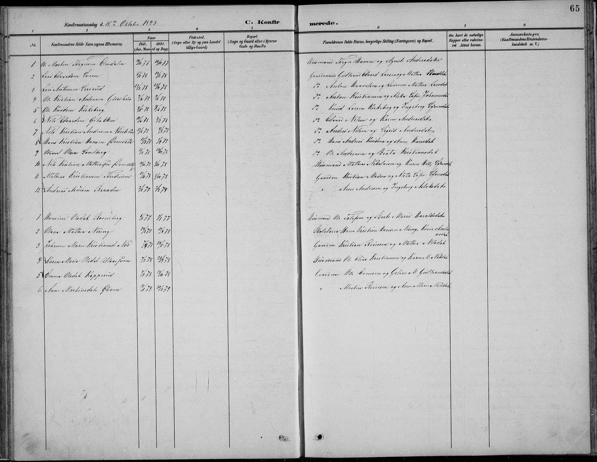 SAH, Nordre Land prestekontor, Klokkerbok nr. 13, 1891-1904, s. 65