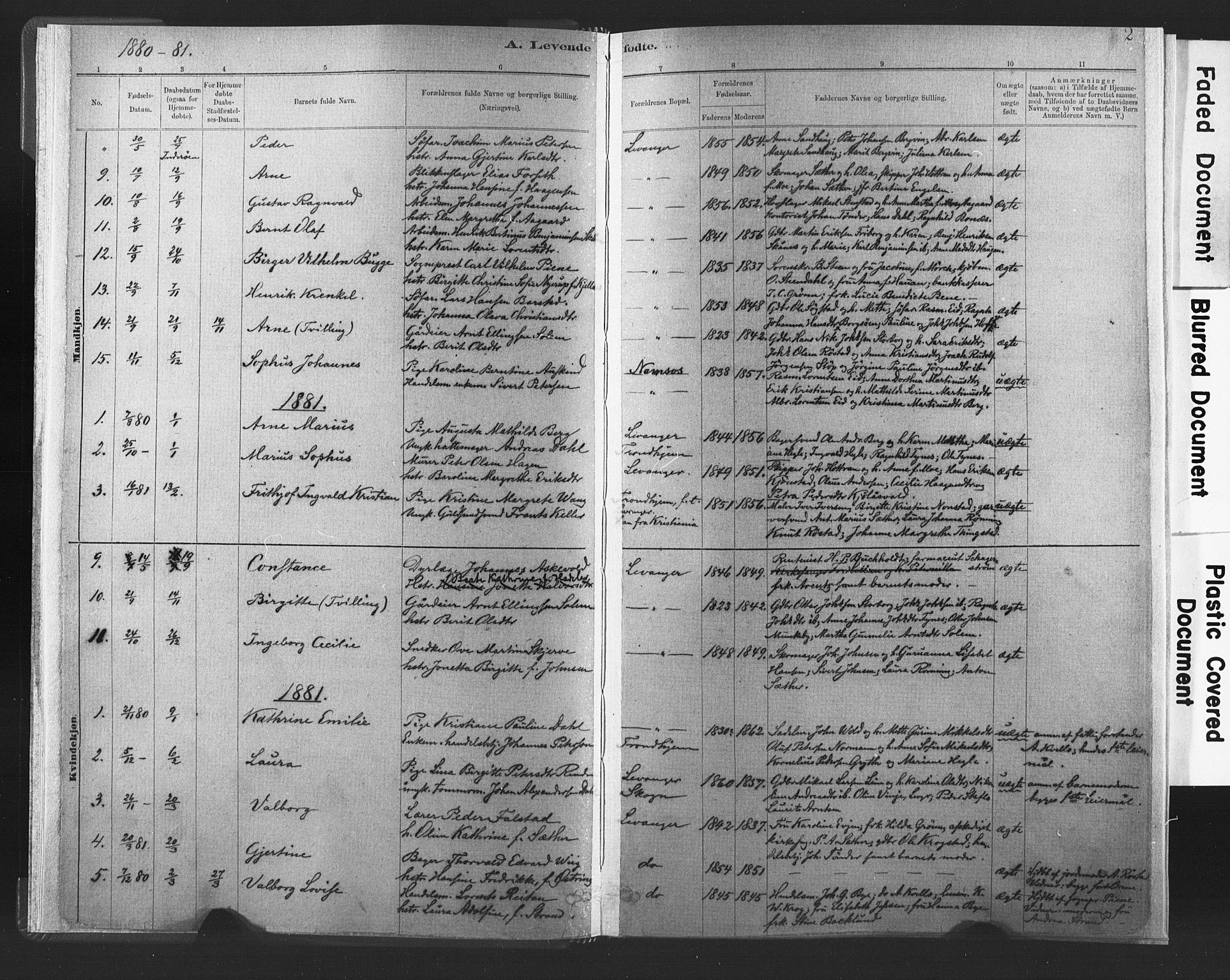 SAT, Ministerialprotokoller, klokkerbøker og fødselsregistre - Nord-Trøndelag, 720/L0189: Ministerialbok nr. 720A05, 1880-1911, s. 2