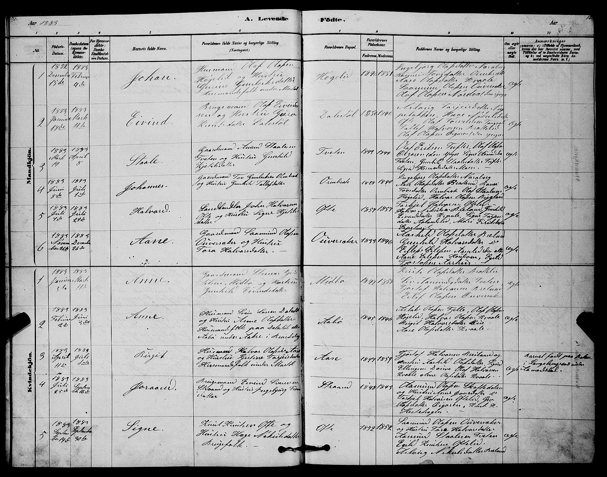 SAKO, Lårdal kirkebøker, G/Gc/L0003: Klokkerbok nr. III 3, 1878-1890, s. 12