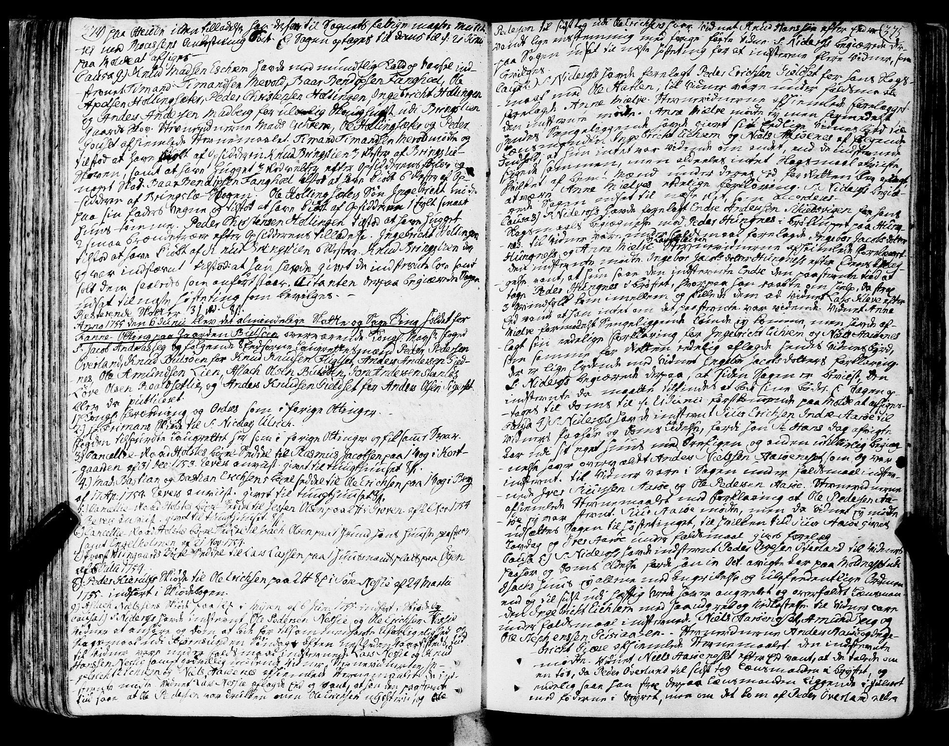 SAT, Romsdal sorenskriveri, 1/1A/L0013: Tingbok, 1749-1757, s. 374-375