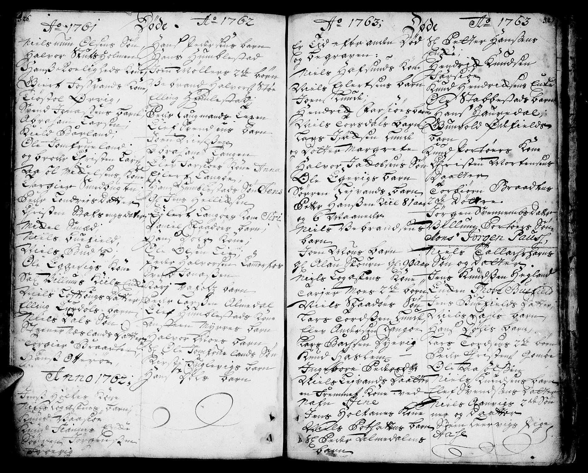 SAKO, Sannidal kirkebøker, F/Fa/L0001: Ministerialbok nr. 1, 1702-1766, s. 326-327