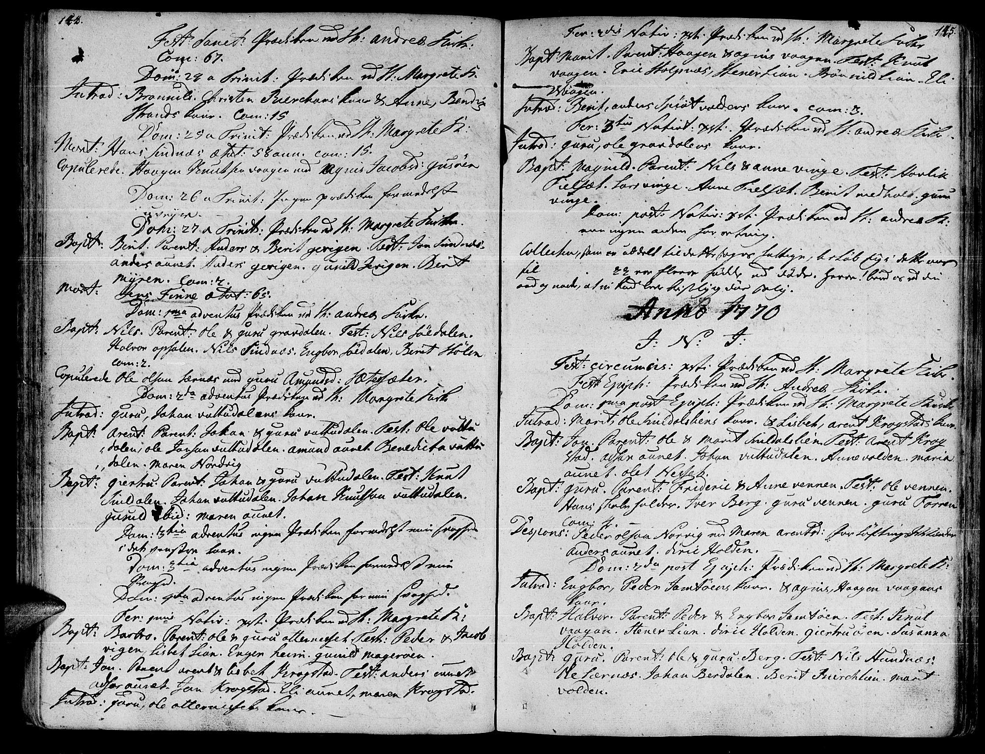SAT, Ministerialprotokoller, klokkerbøker og fødselsregistre - Sør-Trøndelag, 630/L0489: Ministerialbok nr. 630A02, 1757-1794, s. 144-145