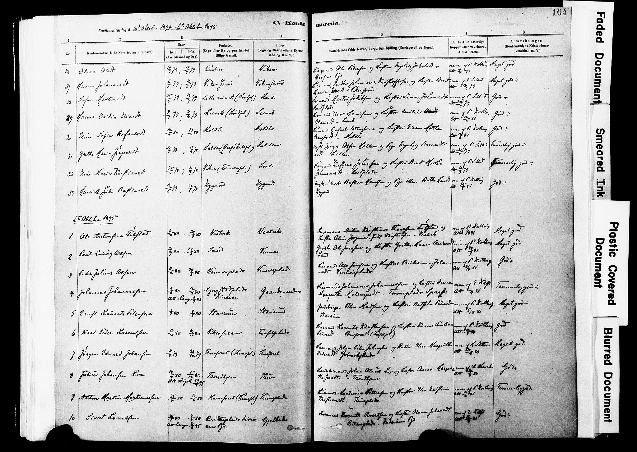 SAT, Ministerialprotokoller, klokkerbøker og fødselsregistre - Nord-Trøndelag, 744/L0420: Ministerialbok nr. 744A04, 1882-1904, s. 104