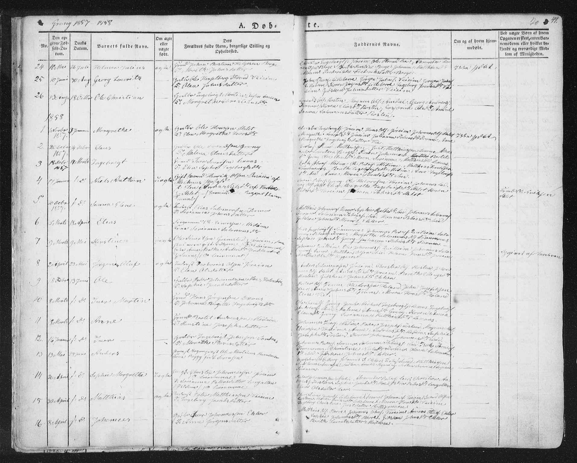 SAT, Ministerialprotokoller, klokkerbøker og fødselsregistre - Nord-Trøndelag, 758/L0513: Ministerialbok nr. 758A02 /1, 1839-1868, s. 20