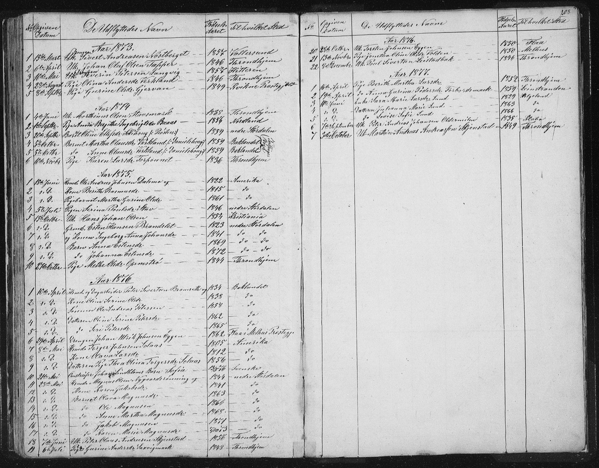 SAT, Ministerialprotokoller, klokkerbøker og fødselsregistre - Sør-Trøndelag, 616/L0406: Ministerialbok nr. 616A03, 1843-1879, s. 208