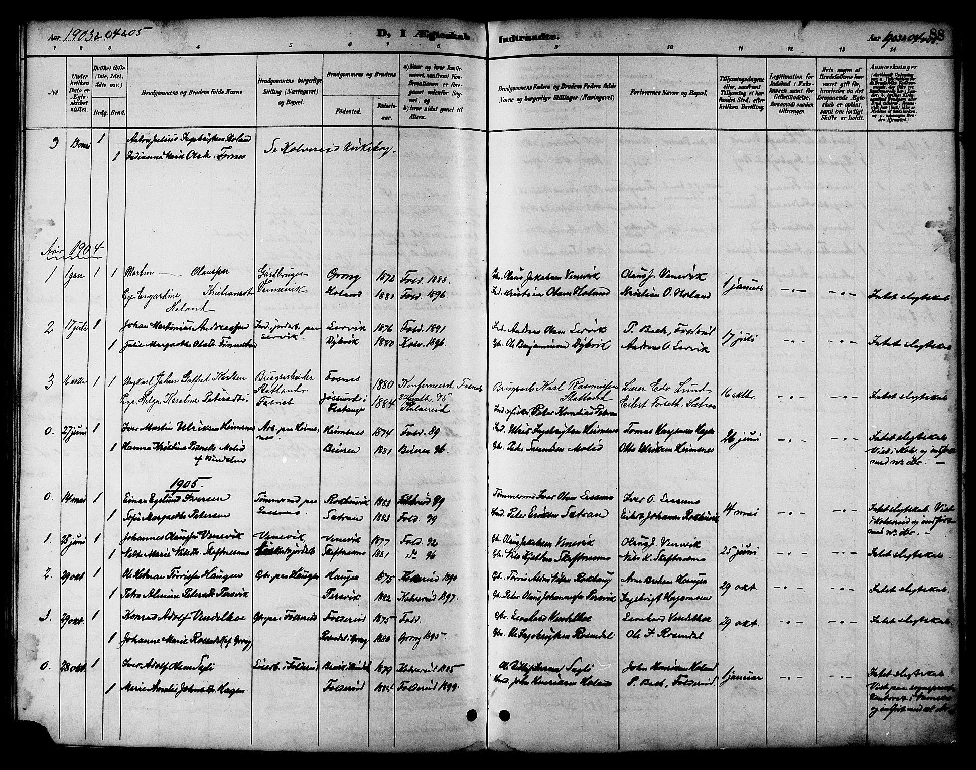 SAT, Ministerialprotokoller, klokkerbøker og fødselsregistre - Nord-Trøndelag, 783/L0662: Klokkerbok nr. 783C02, 1894-1919, s. 88