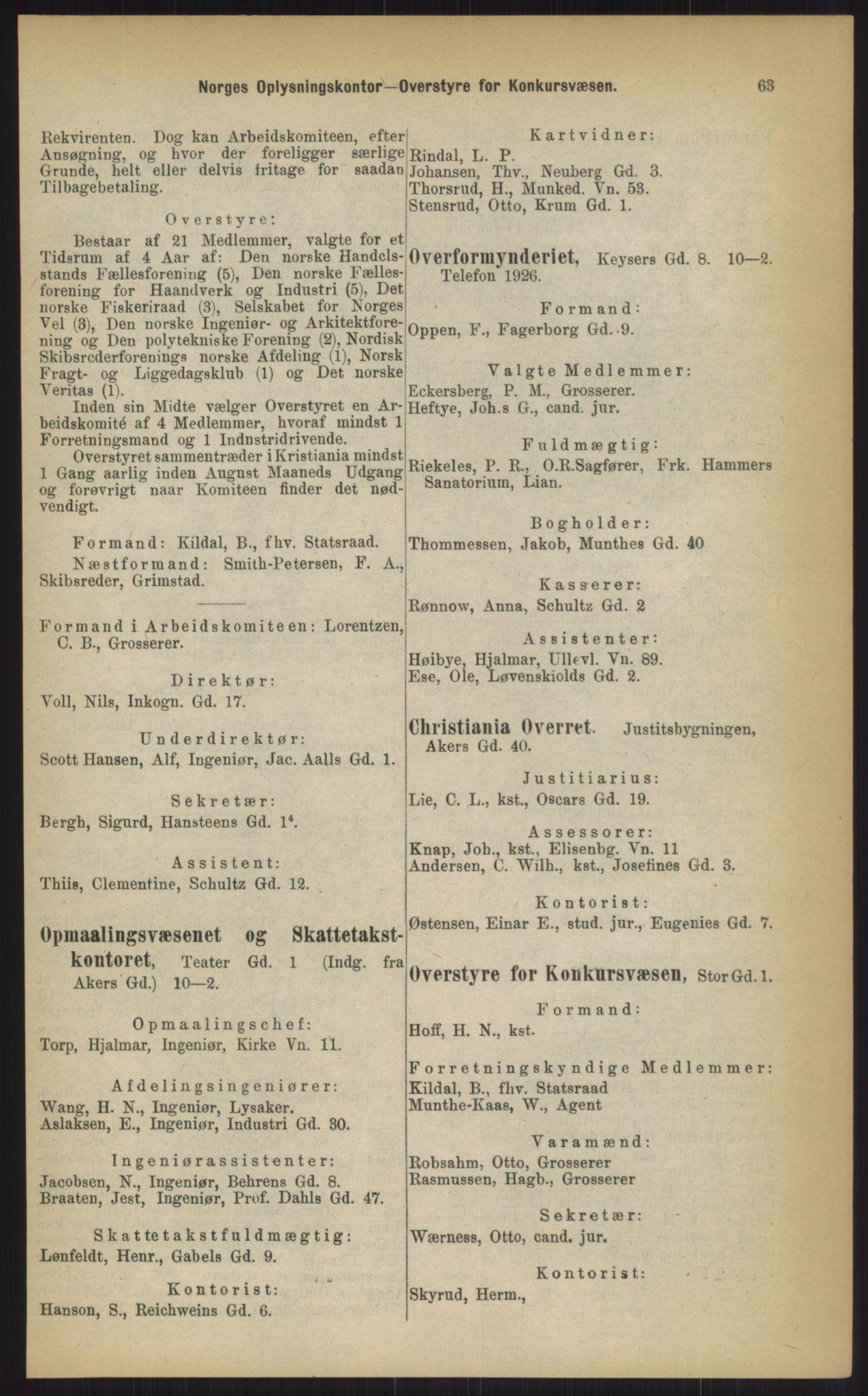 RA, Kristiania adressebok (publikasjon)*, 1903, s. 63