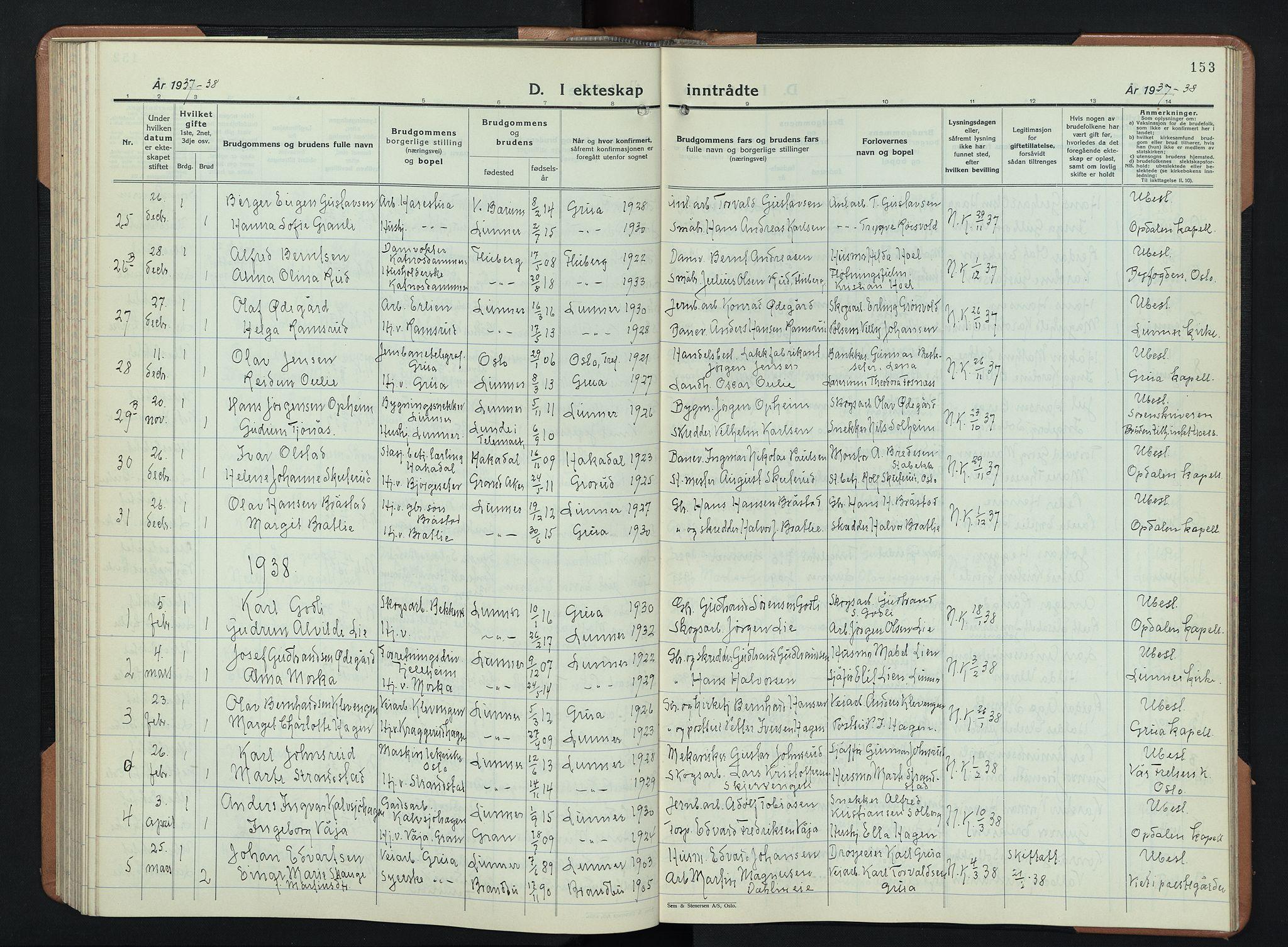 SAH, Lunner prestekontor, H/Ha/Hab/L0003: Klokkerbok nr. 3, 1933-1945, s. 153