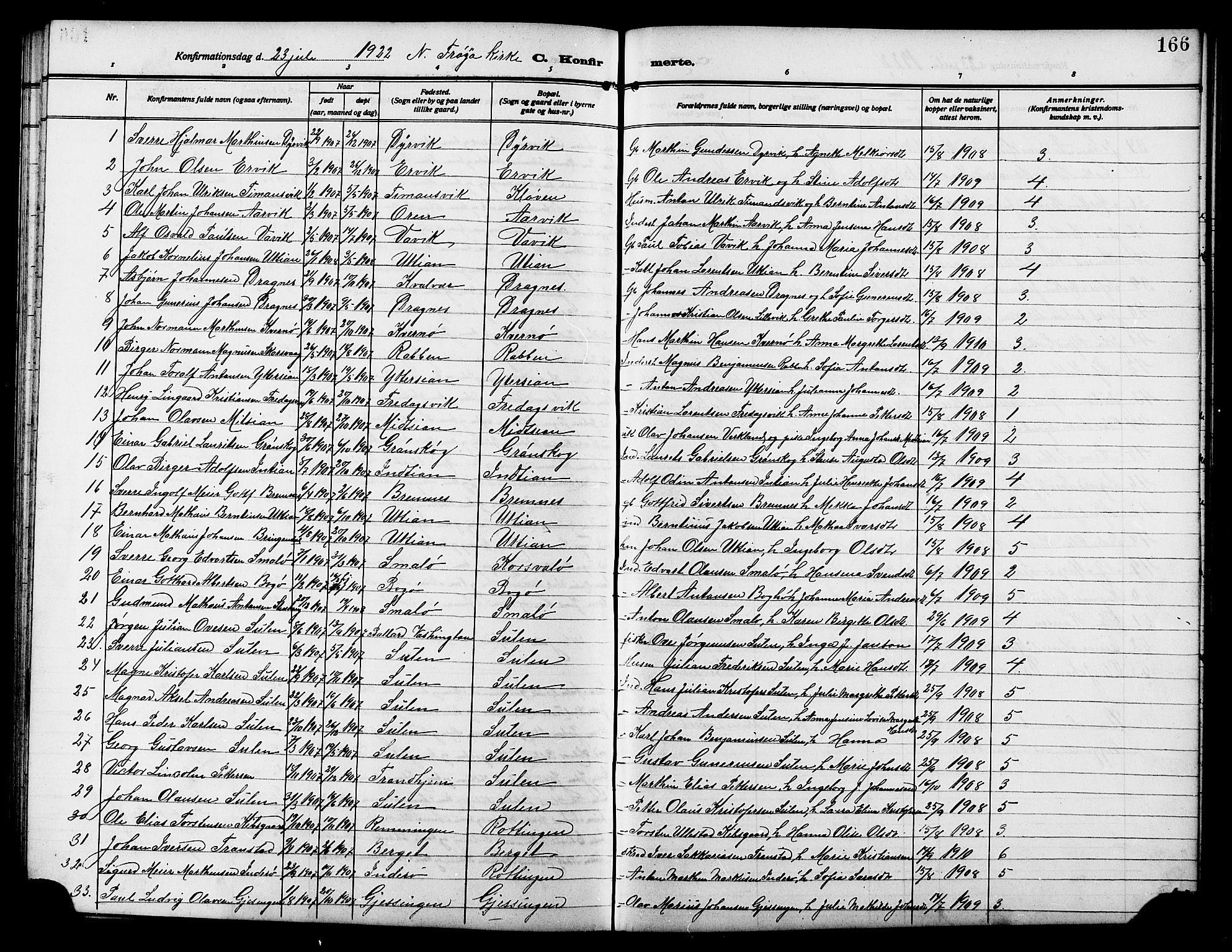 SAT, Ministerialprotokoller, klokkerbøker og fødselsregistre - Sør-Trøndelag, 640/L0588: Klokkerbok nr. 640C05, 1909-1922, s. 166