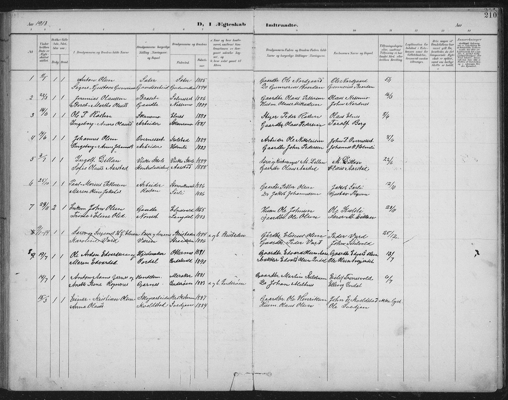 SAT, Ministerialprotokoller, klokkerbøker og fødselsregistre - Nord-Trøndelag, 724/L0269: Klokkerbok nr. 724C05, 1899-1920, s. 210