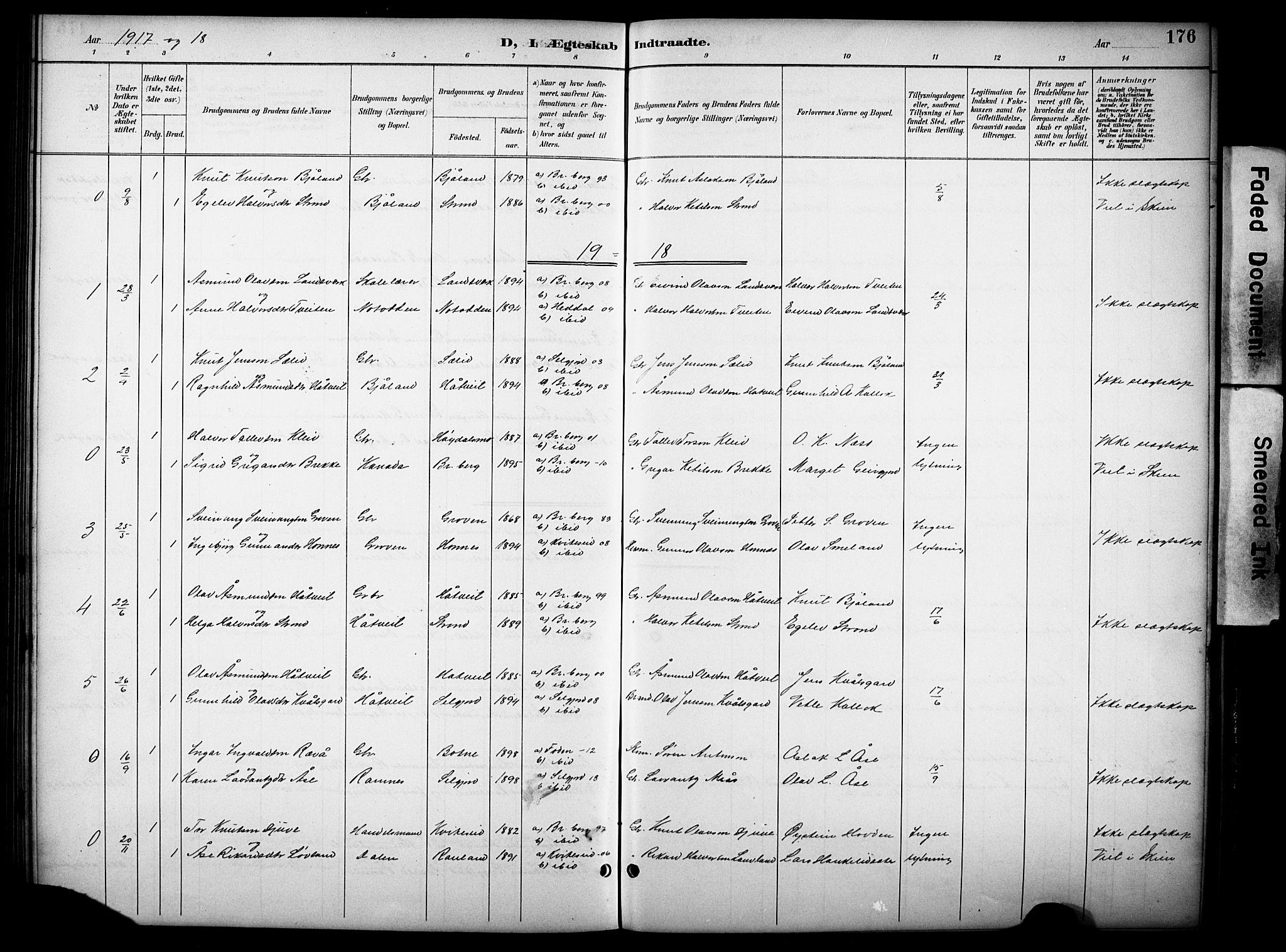 SAKO, Kviteseid kirkebøker, G/Gb/L0003: Klokkerbok nr. II 3, 1893-1933, s. 176