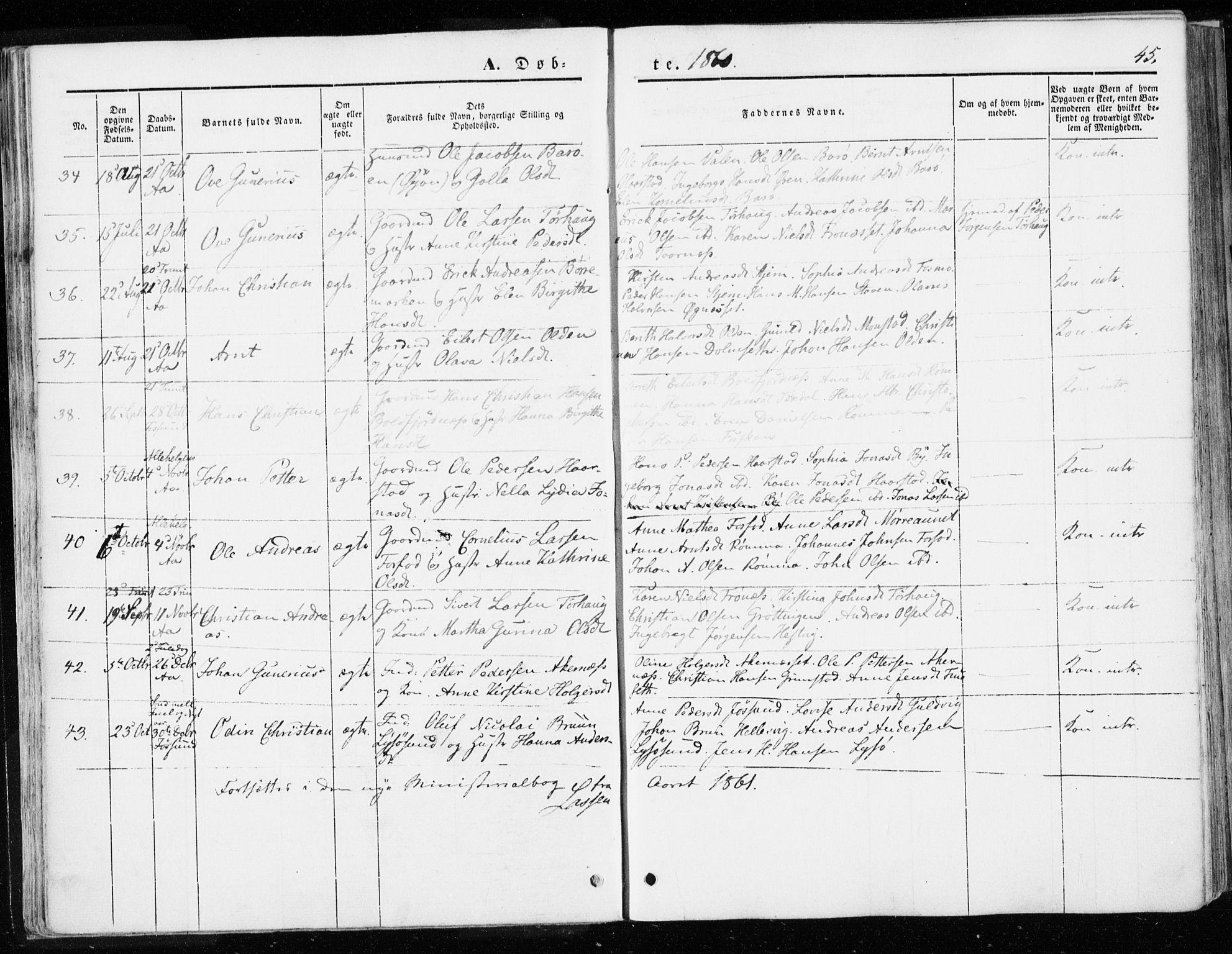 SAT, Ministerialprotokoller, klokkerbøker og fødselsregistre - Sør-Trøndelag, 655/L0677: Ministerialbok nr. 655A06, 1847-1860, s. 45