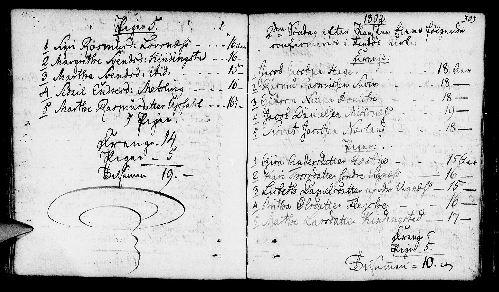 SAST, Finnøy sokneprestkontor, H/Ha/Haa/L0005: Ministerialbok nr. A 5, 1773-1816, s. 303