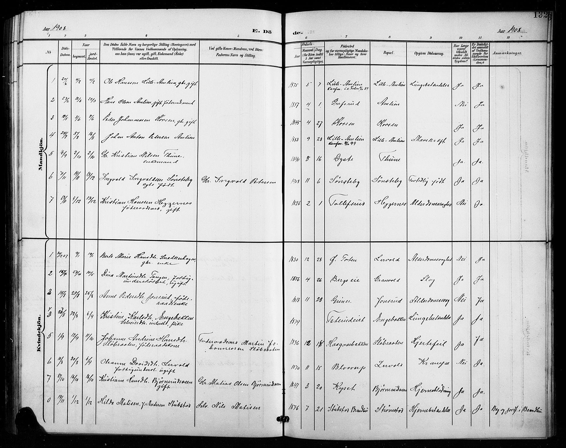 SAH, Vestre Toten prestekontor, H/Ha/Hab/L0016: Klokkerbok nr. 16, 1901-1915, s. 132