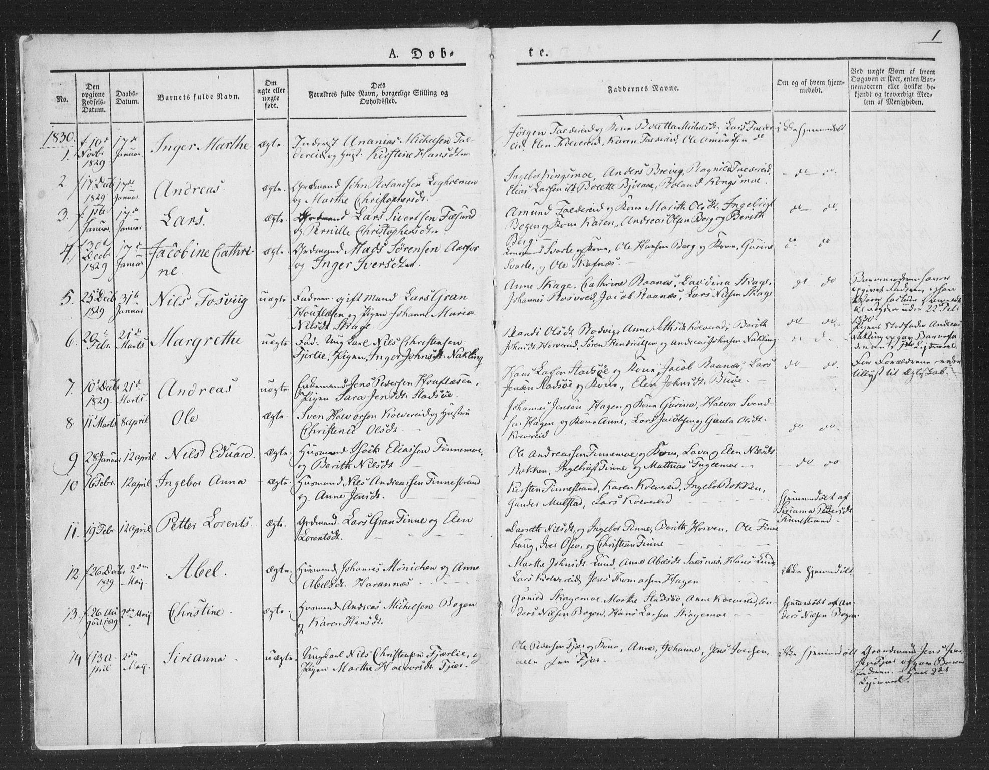SAT, Ministerialprotokoller, klokkerbøker og fødselsregistre - Nord-Trøndelag, 780/L0639: Ministerialbok nr. 780A04, 1830-1844, s. 1