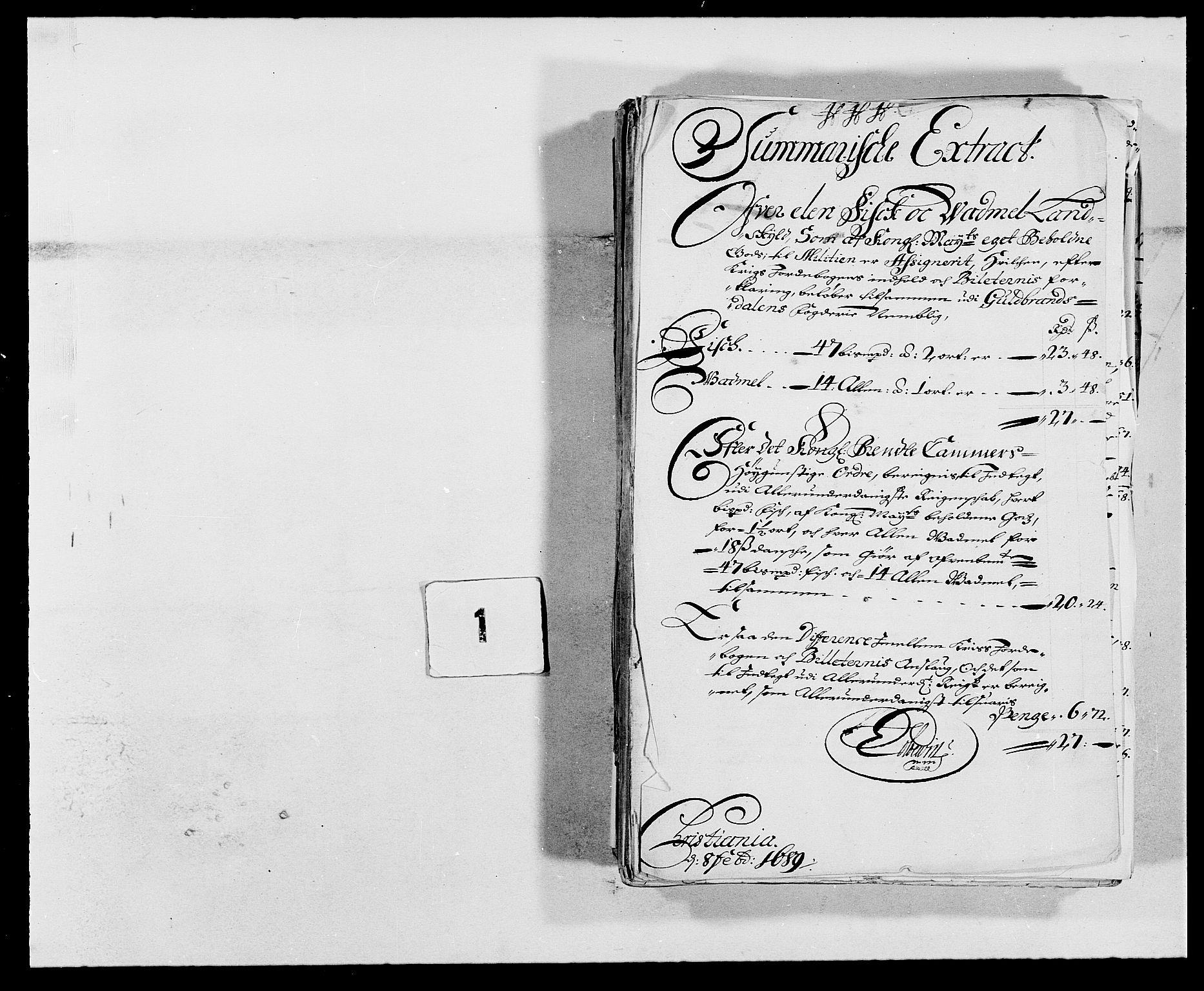 RA, Rentekammeret inntil 1814, Reviderte regnskaper, Fogderegnskap, R17/L1164: Fogderegnskap Gudbrandsdal, 1682-1689, s. 30
