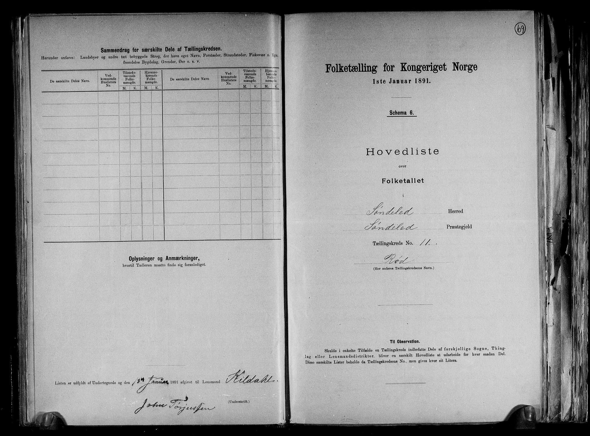 RA, Folketelling 1891 for 0913 Søndeled herred, 1891, s. 25