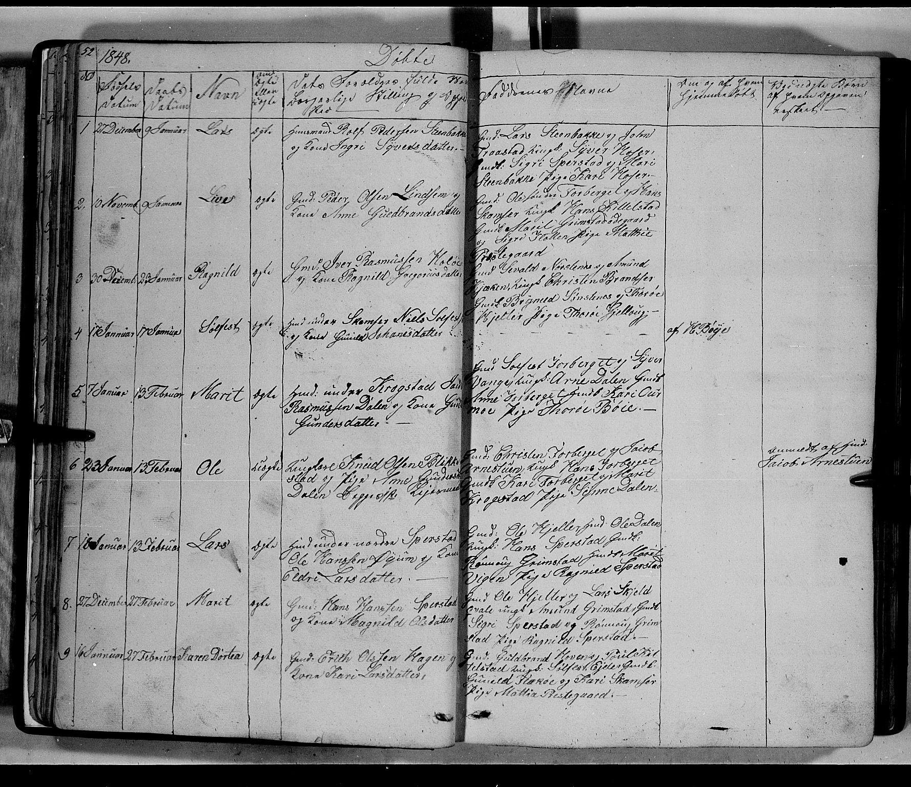 SAH, Lom prestekontor, L/L0004: Klokkerbok nr. 4, 1845-1864, s. 52-53