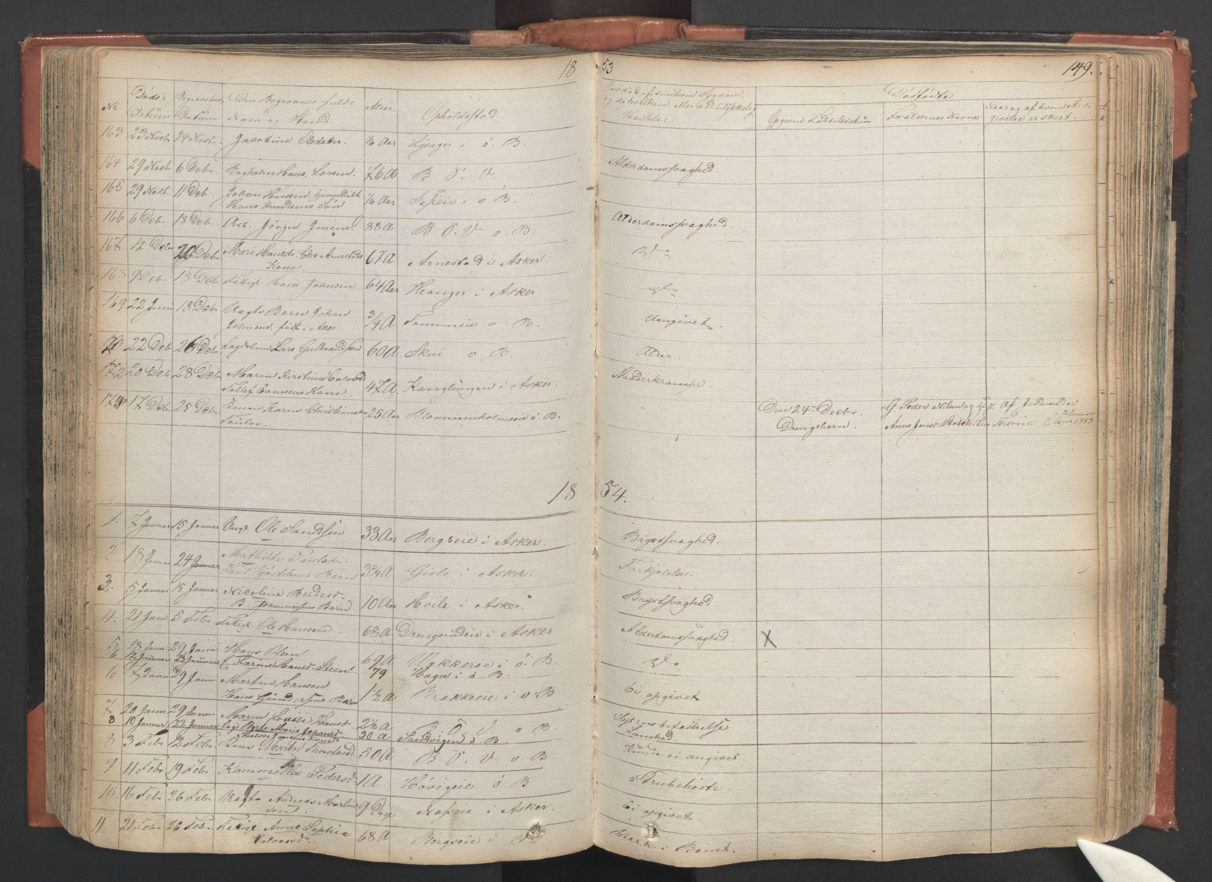 SAO, Asker prestekontor Kirkebøker, F/Fa/L0011: Ministerialbok nr. I 11, 1825-1878, s. 149