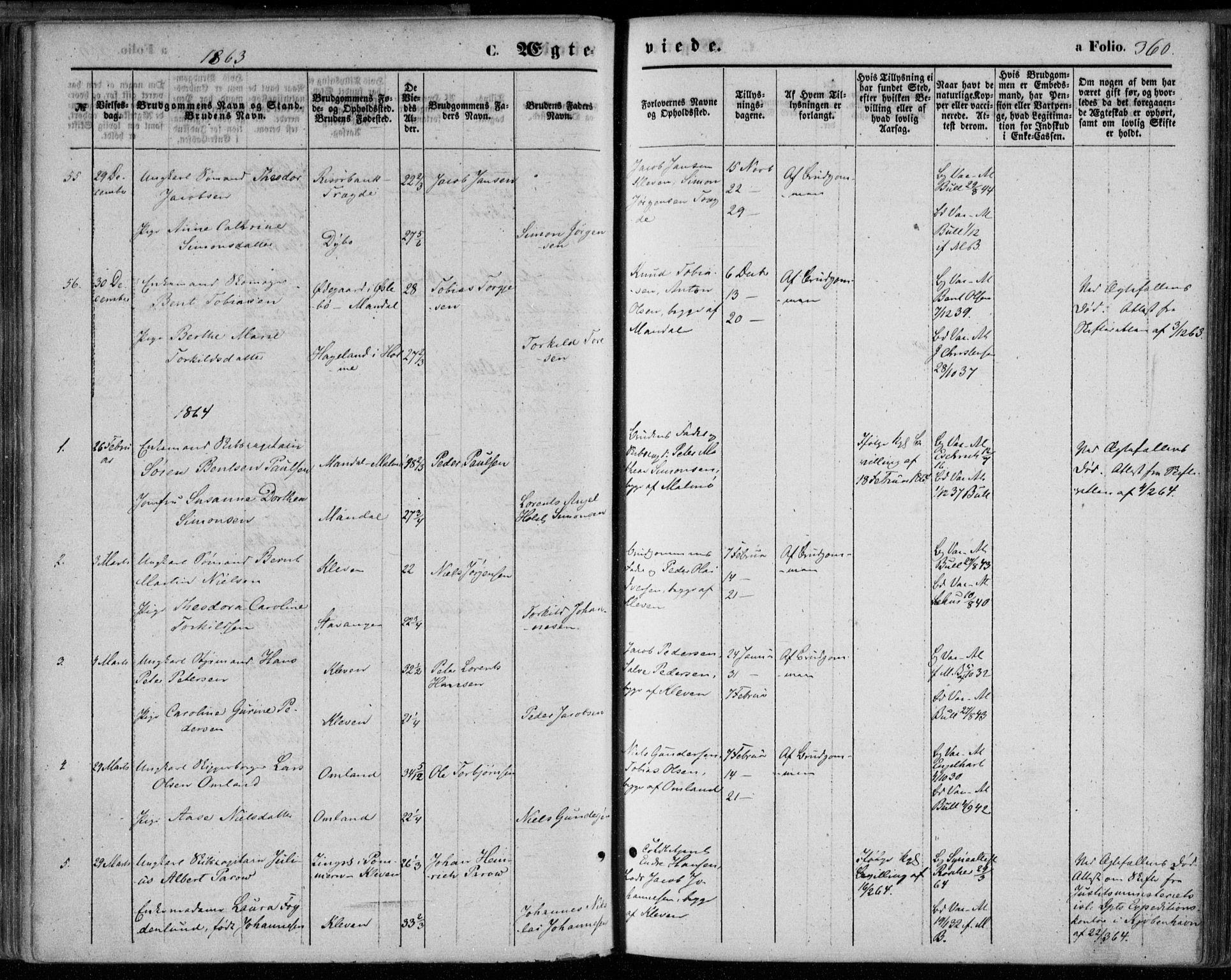 SAK, Mandal sokneprestkontor, F/Fa/Faa/L0014: Ministerialbok nr. A 14, 1859-1872, s. 360