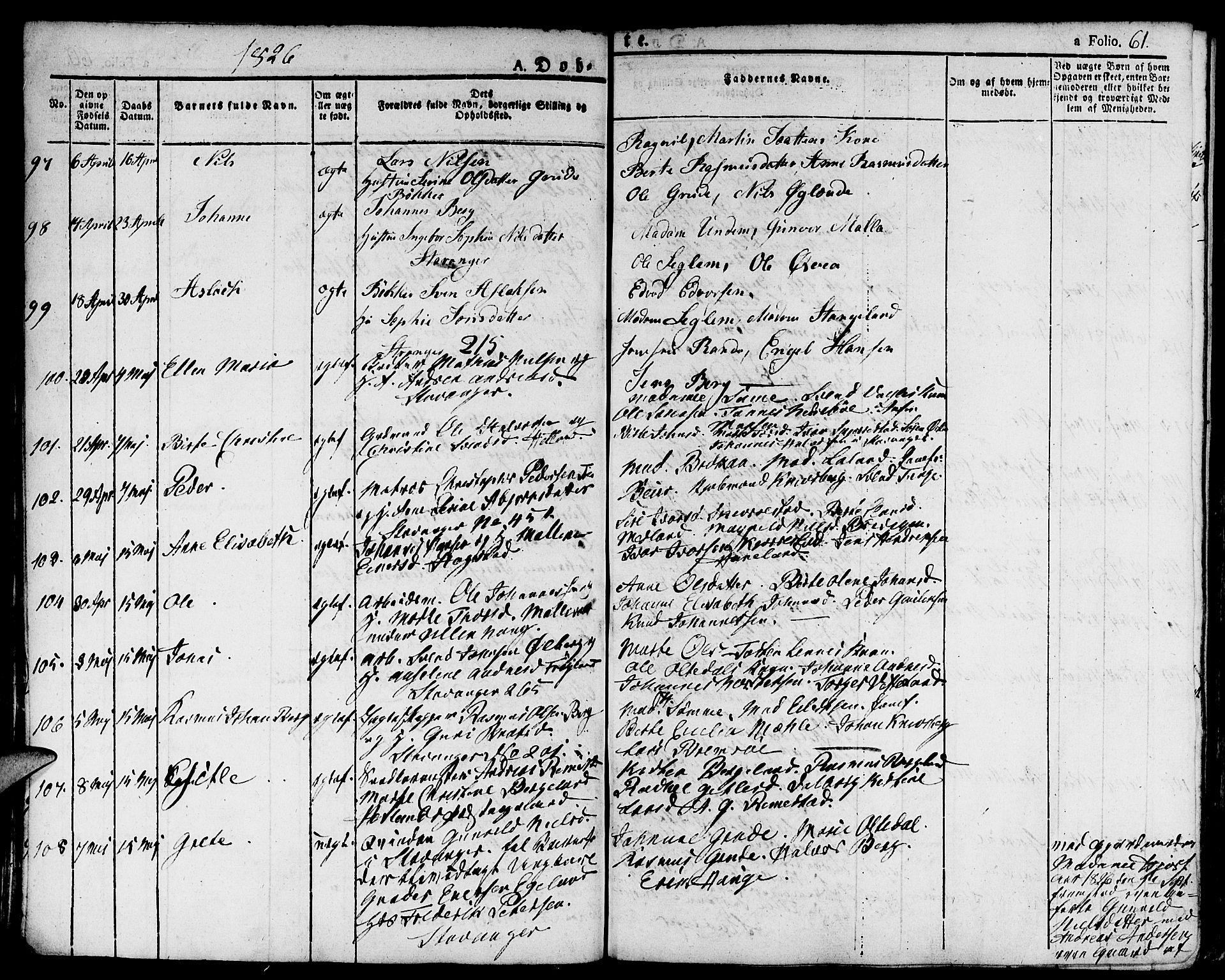 SAST, Domkirken sokneprestkontor, 30/30BA/L0009: Ministerialbok nr. A 9, 1821-1832, s. 61