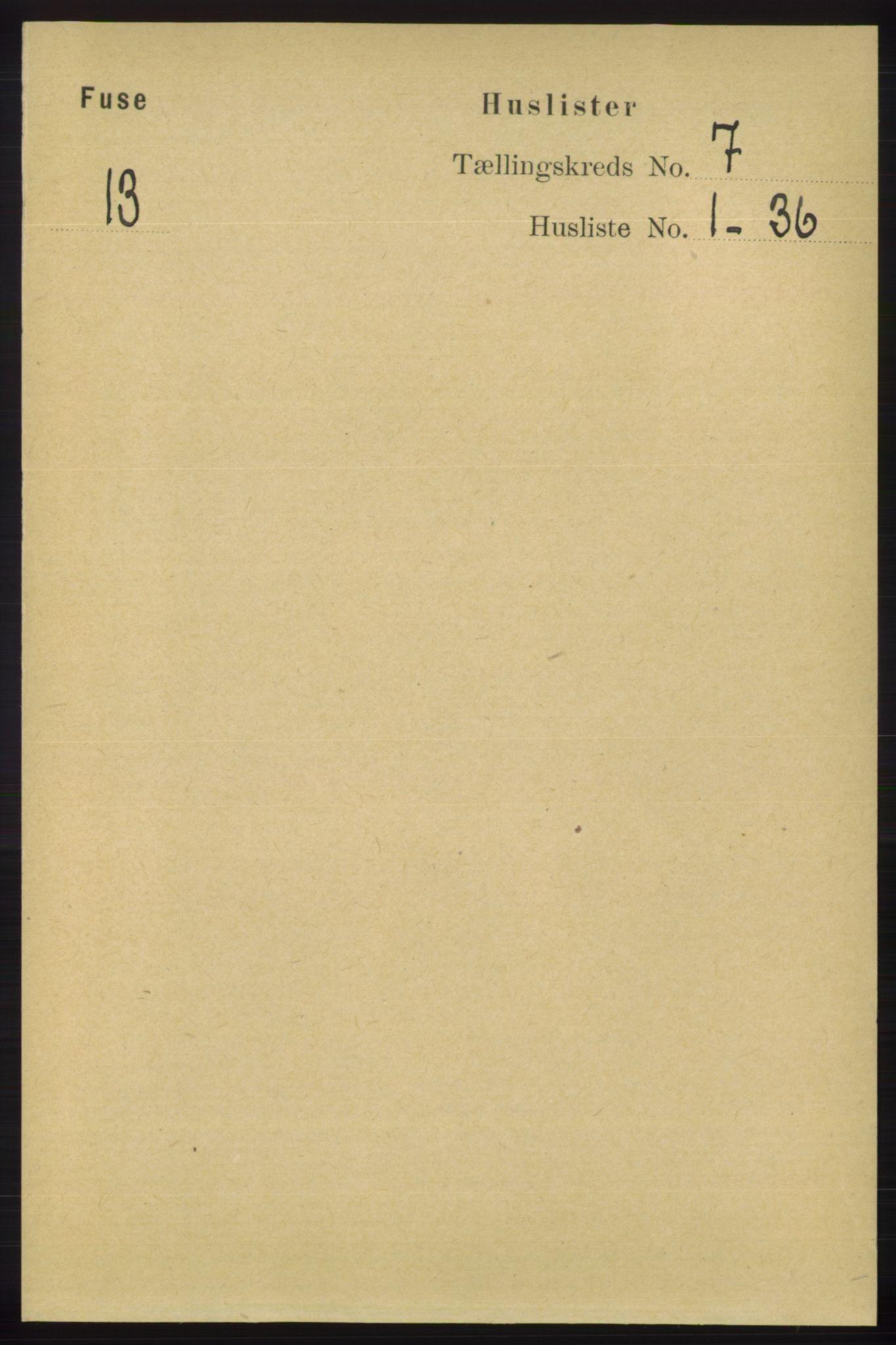 RA, Folketelling 1891 for 1241 Fusa herred, 1891, s. 1263