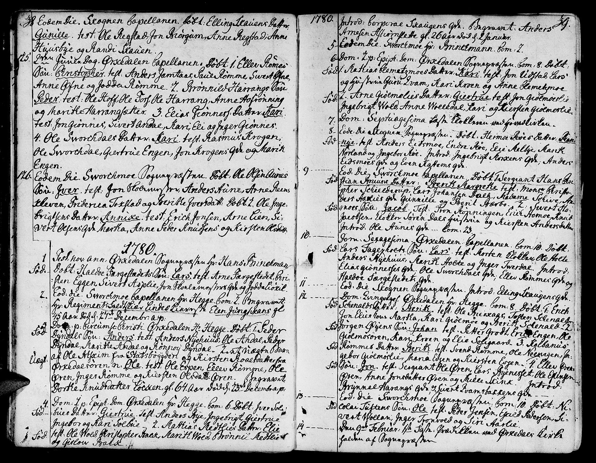 SAT, Ministerialprotokoller, klokkerbøker og fødselsregistre - Sør-Trøndelag, 668/L0802: Ministerialbok nr. 668A02, 1776-1799, s. 38-39