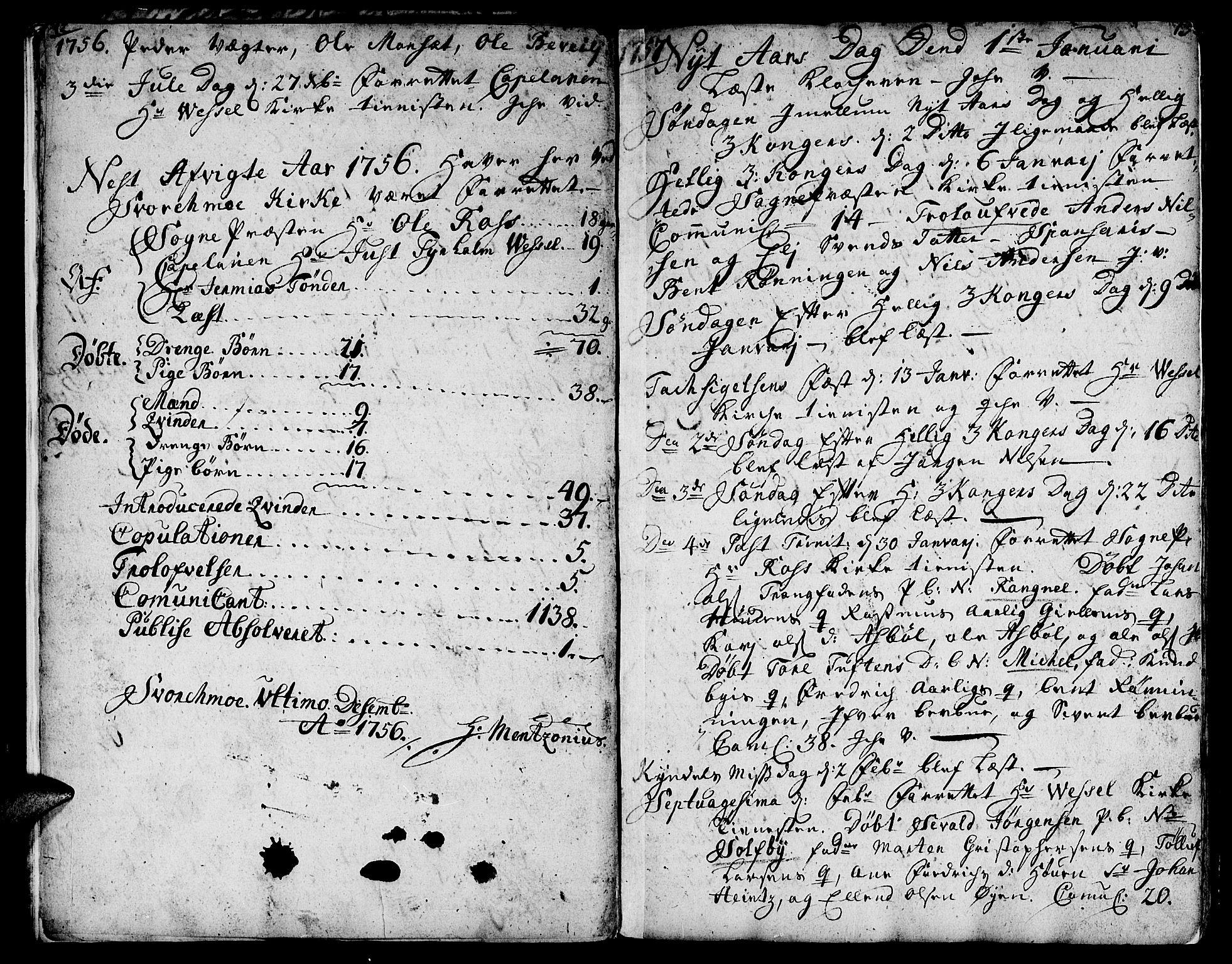 SAT, Ministerialprotokoller, klokkerbøker og fødselsregistre - Sør-Trøndelag, 671/L0840: Ministerialbok nr. 671A02, 1756-1794, s. 12-13