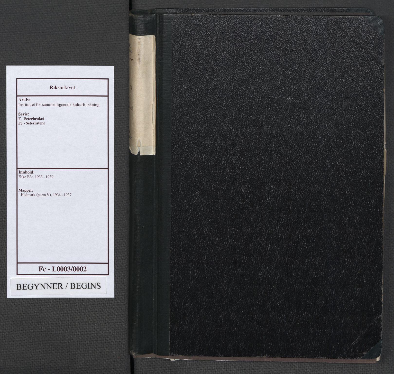 RA, Instituttet for sammenlignende kulturforskning, F/Fc/L0003: Eske B3:, 1934-1937, s. upaginert