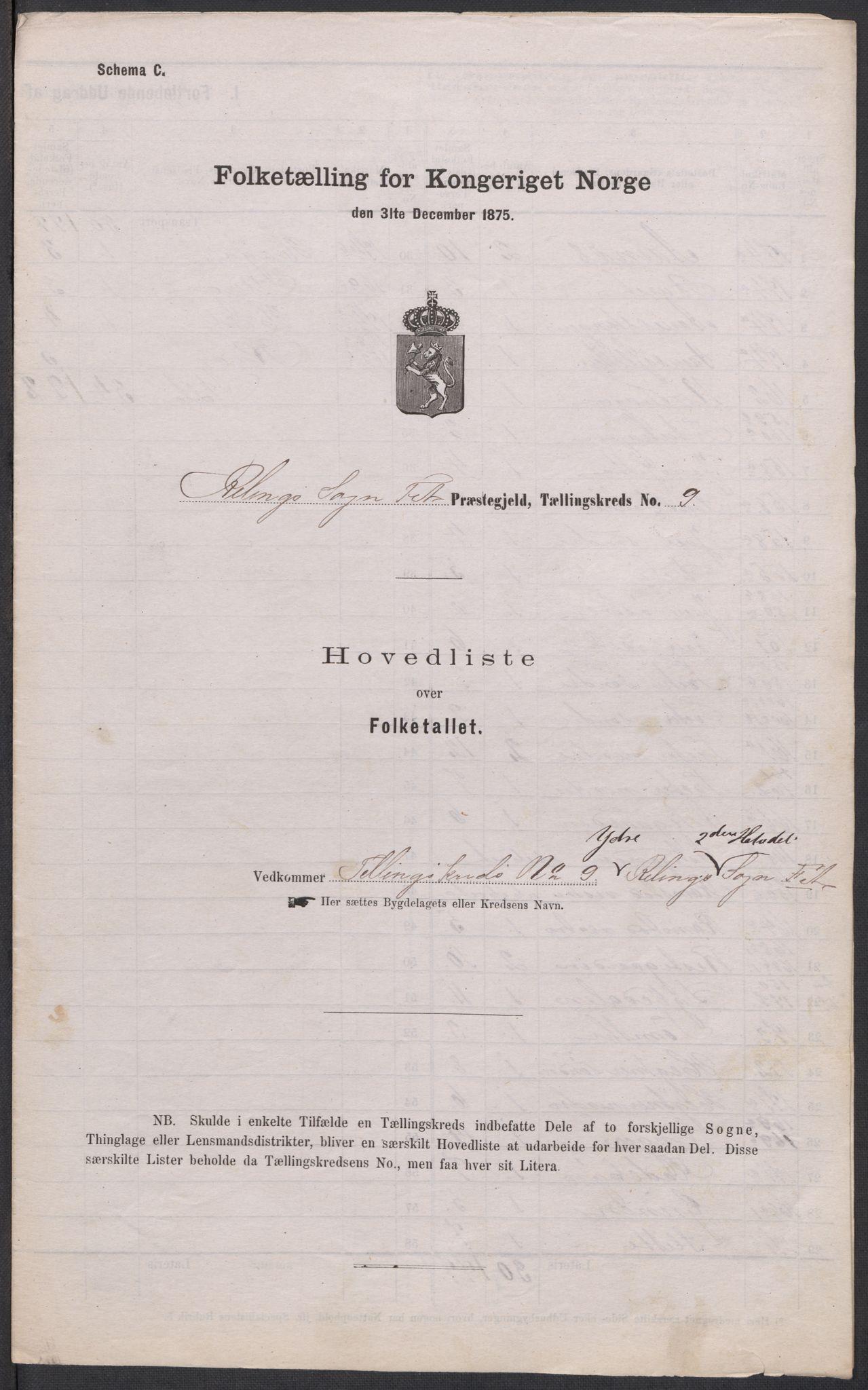 RA, Folketelling 1875 for 0227P Fet prestegjeld, 1875, s. 74