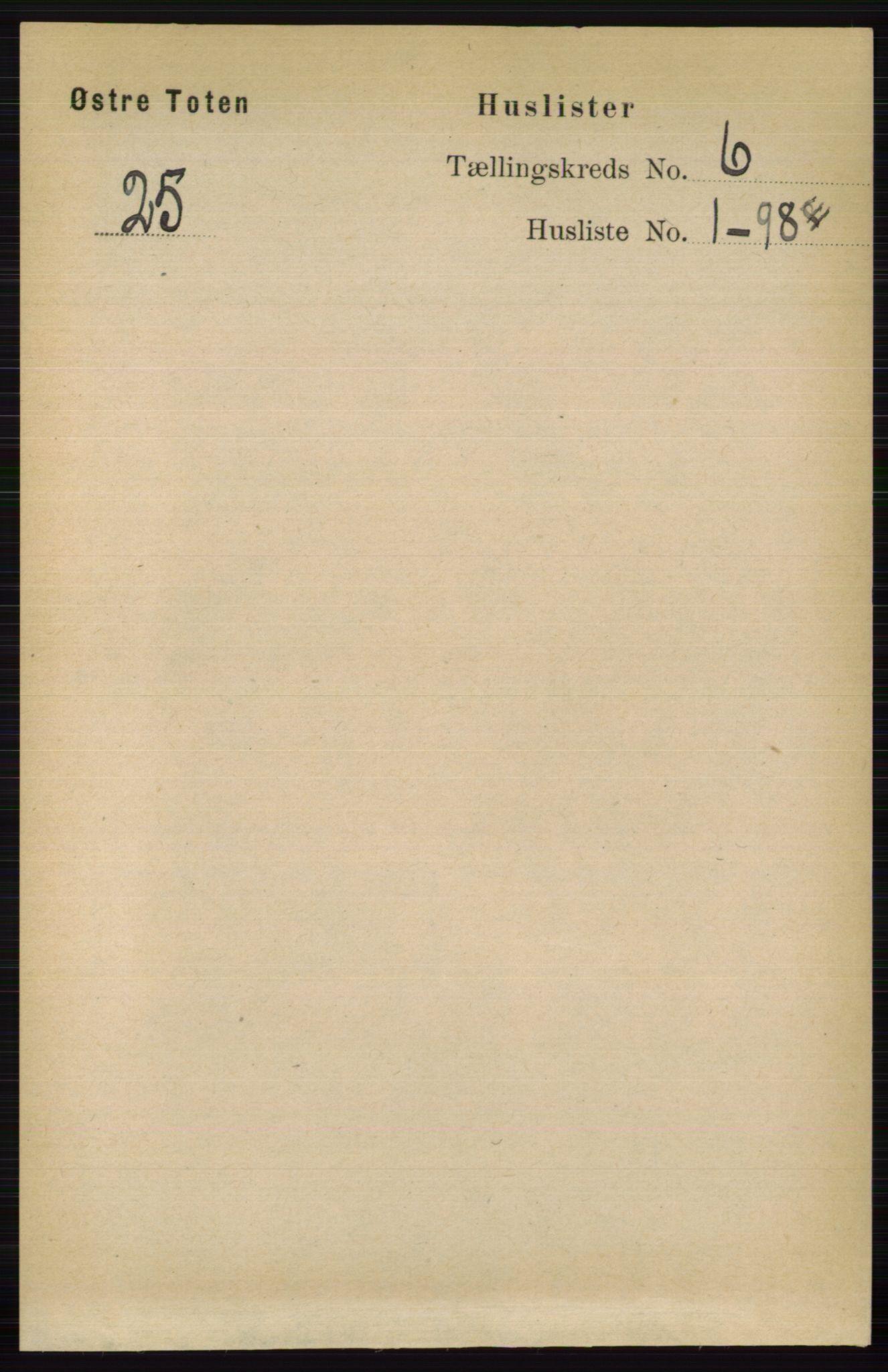 RA, Folketelling 1891 for 0528 Østre Toten herred, 1891, s. 3674