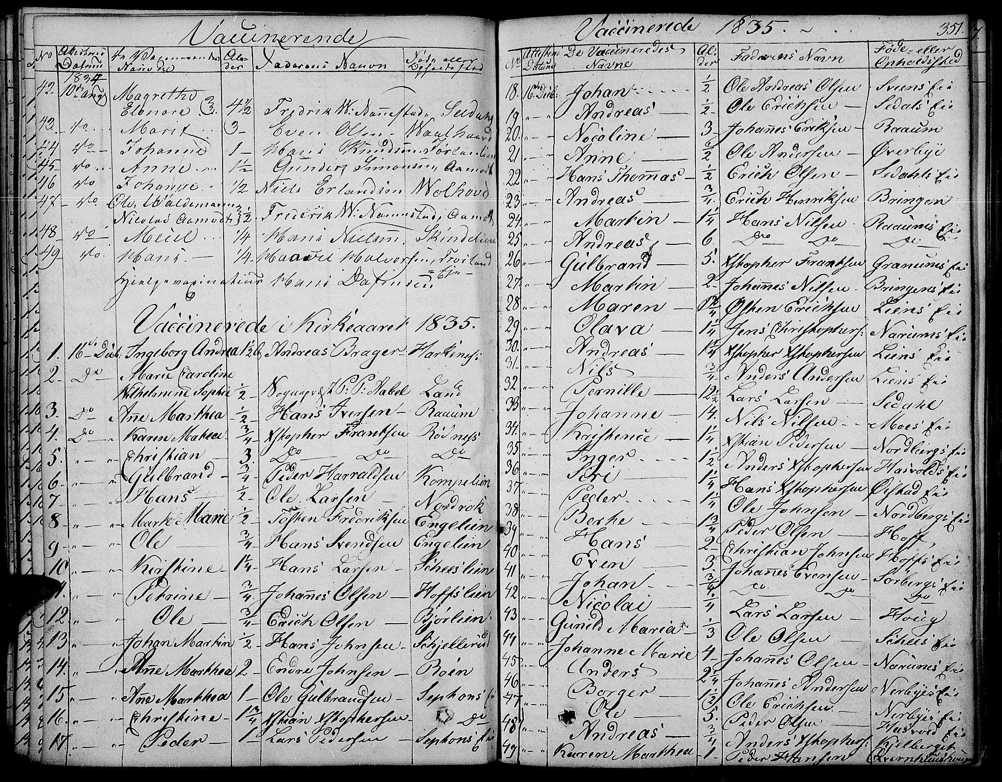 SAH, Land prestekontor, Ministerialbok nr. 8, 1830-1846, s. 351
