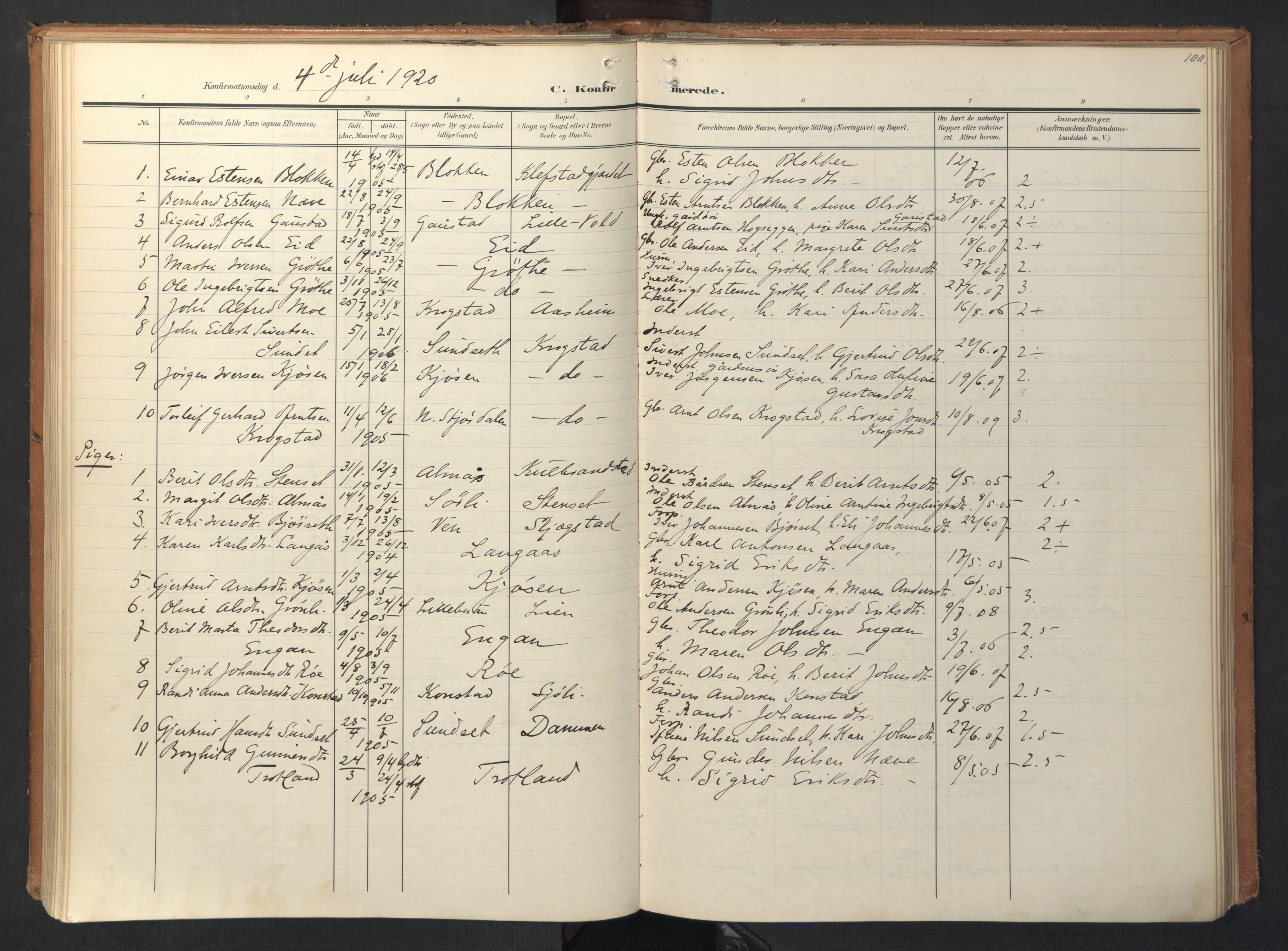 SAT, Ministerialprotokoller, klokkerbøker og fødselsregistre - Sør-Trøndelag, 694/L1128: Ministerialbok nr. 694A02, 1906-1931, s. 100