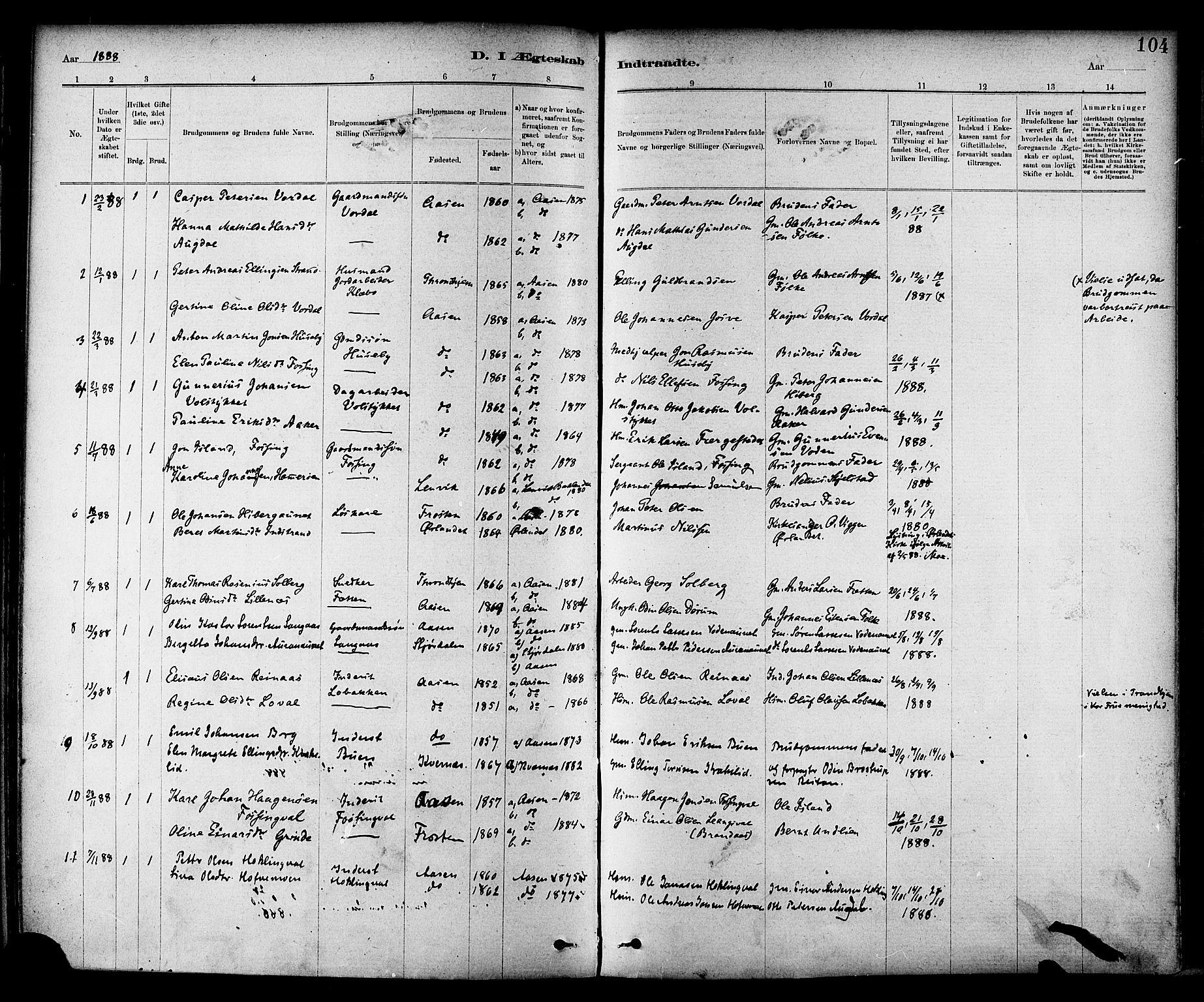 SAT, Ministerialprotokoller, klokkerbøker og fødselsregistre - Nord-Trøndelag, 714/L0130: Ministerialbok nr. 714A01, 1878-1895, s. 104