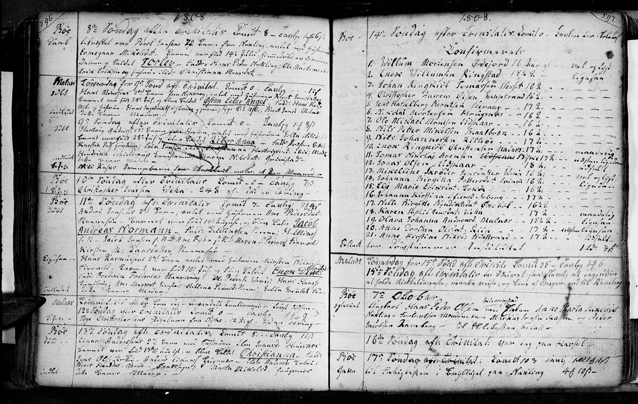 SAT, Ministerialprotokoller, klokkerbøker og fødselsregistre - Nordland, 891/L1297: Ministerialbok nr. 891A02, 1759-1820, s. 596-597