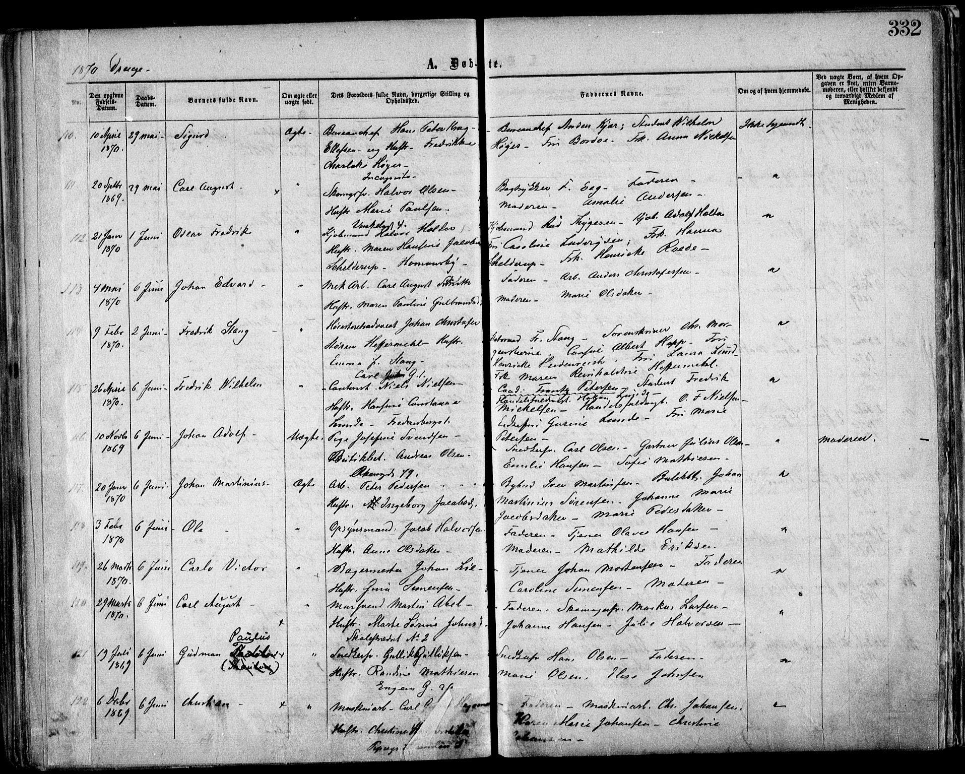 SAO, Trefoldighet prestekontor Kirkebøker, F/Fa/L0002: Ministerialbok nr. I 2, 1863-1870, s. 332