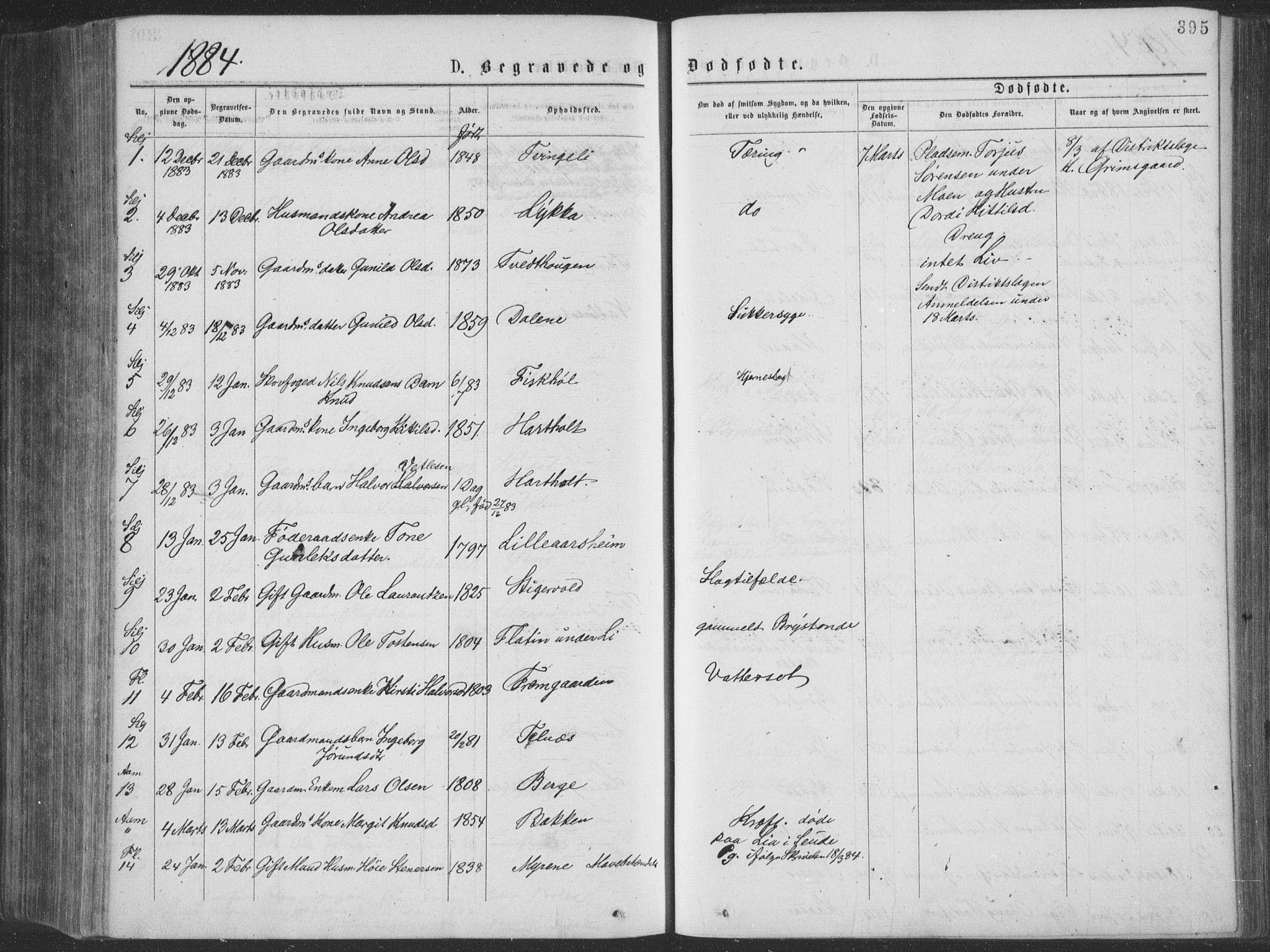 SAKO, Seljord kirkebøker, F/Fa/L0014: Ministerialbok nr. I 14, 1877-1886, s. 395