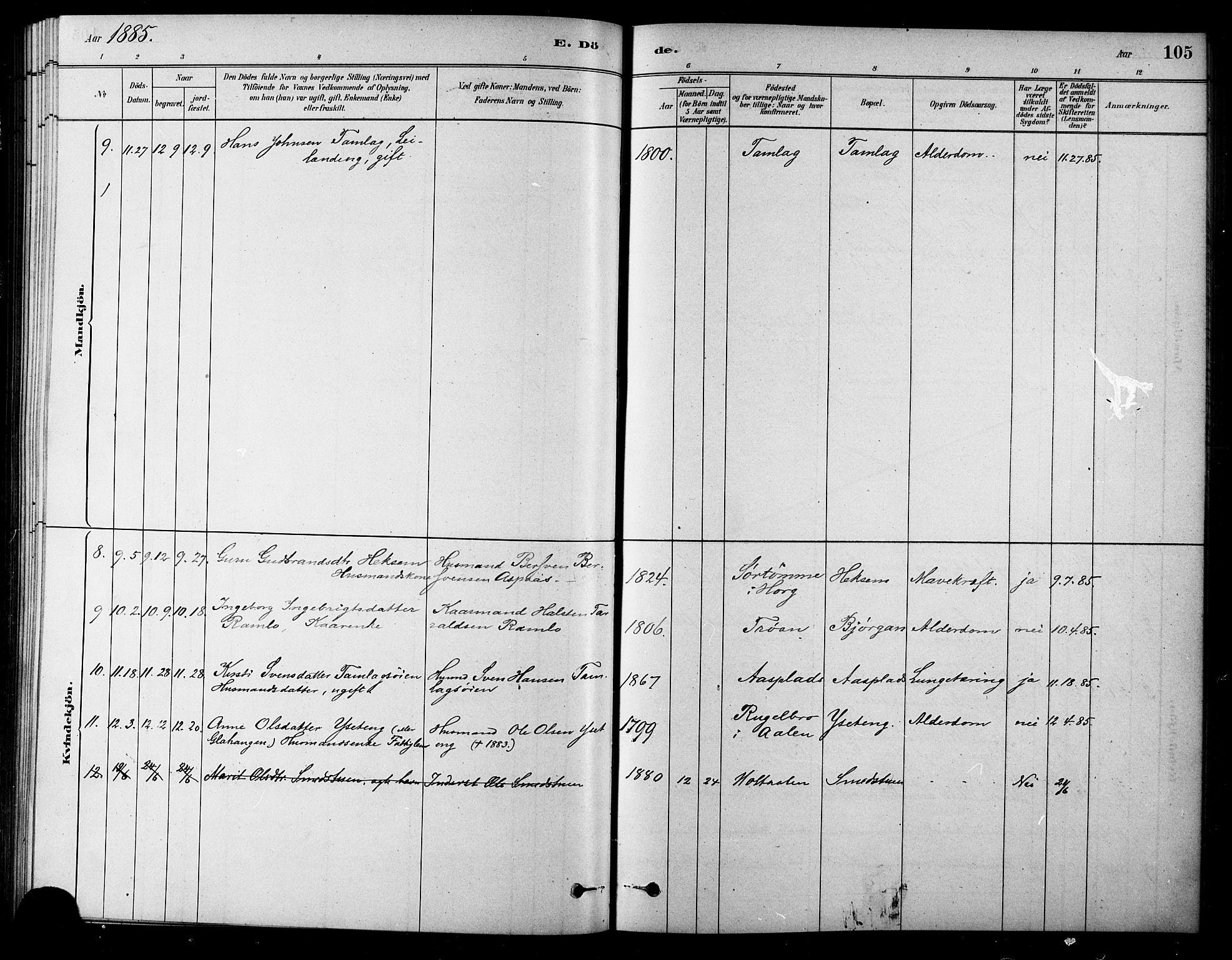 SAT, Ministerialprotokoller, klokkerbøker og fødselsregistre - Sør-Trøndelag, 685/L0972: Ministerialbok nr. 685A09, 1879-1890, s. 105