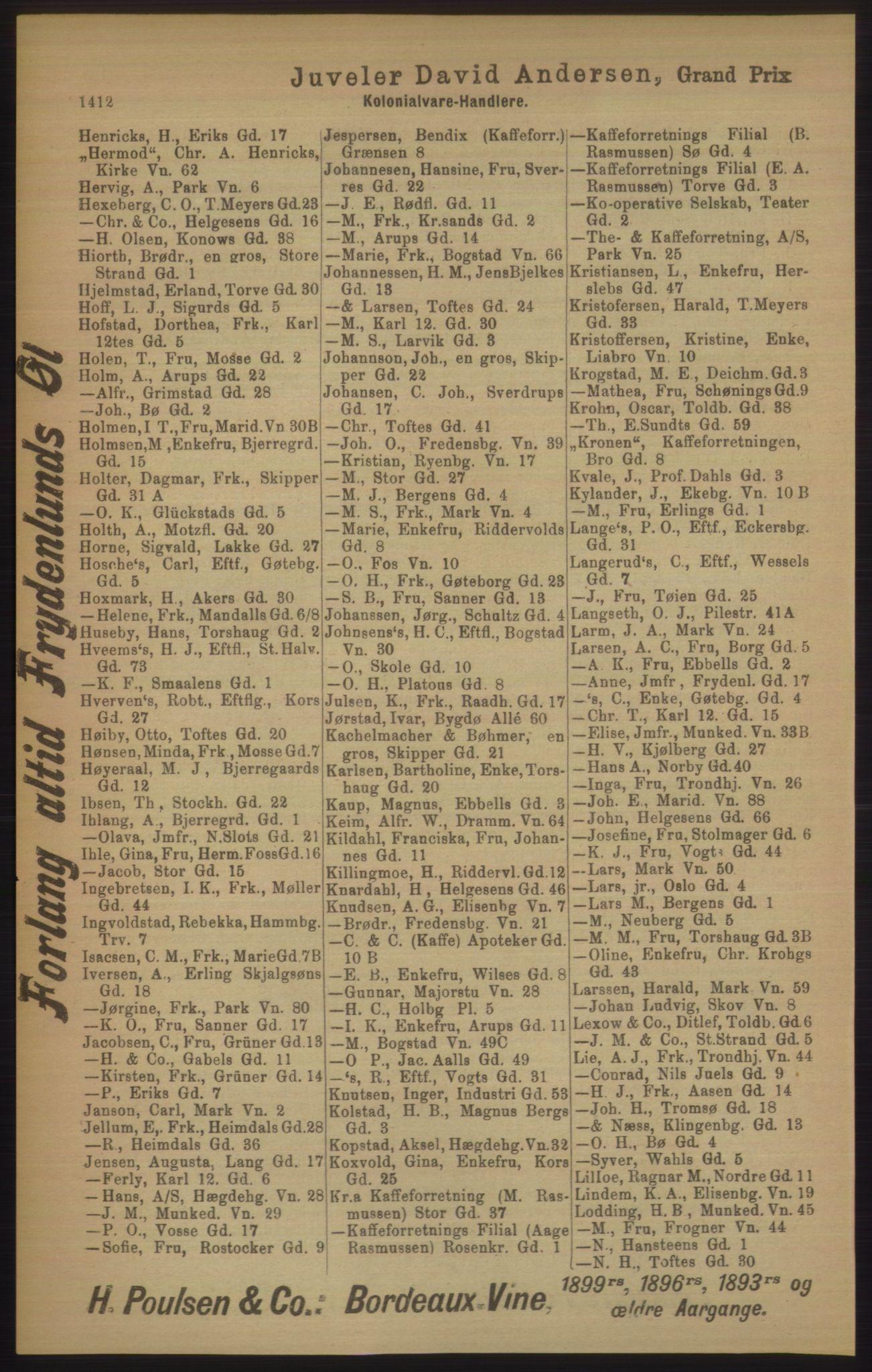 RA, Kristiania adressebok (publikasjon)*, 1906, s. 1412