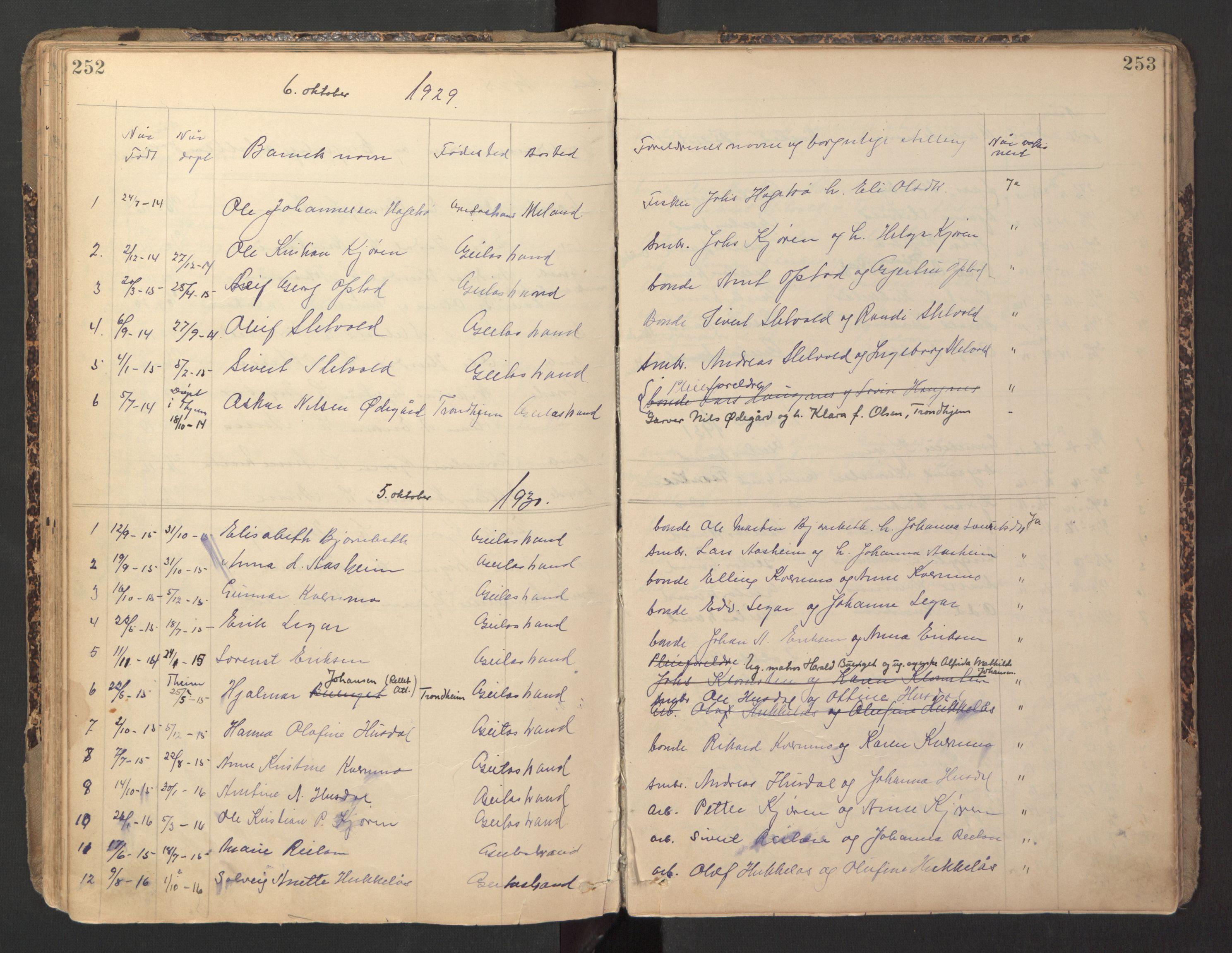 SAT, Ministerialprotokoller, klokkerbøker og fødselsregistre - Sør-Trøndelag, 670/L0837: Klokkerbok nr. 670C01, 1905-1946, s. 252-253