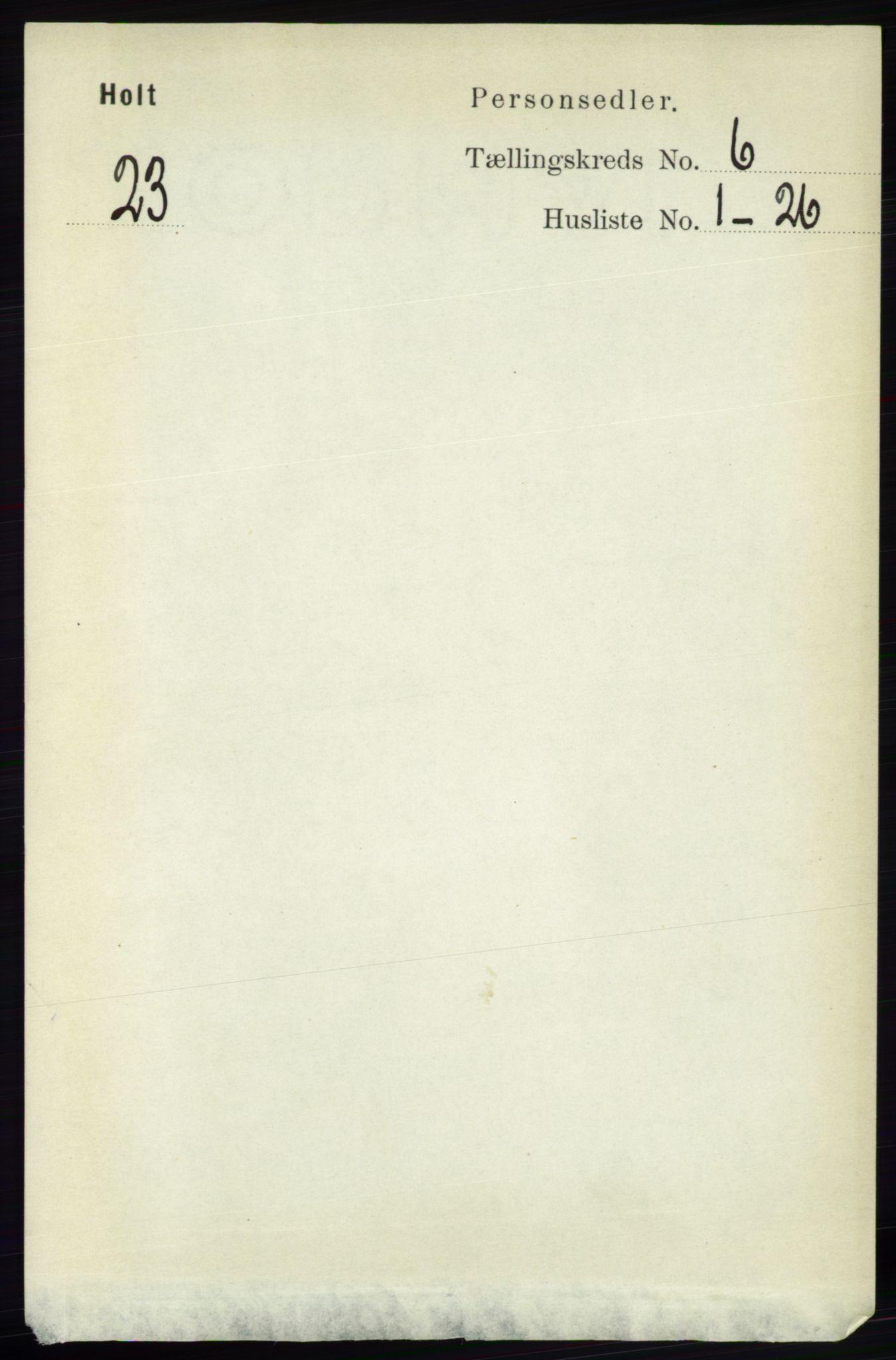 RA, Folketelling 1891 for 0914 Holt herred, 1891, s. 2996
