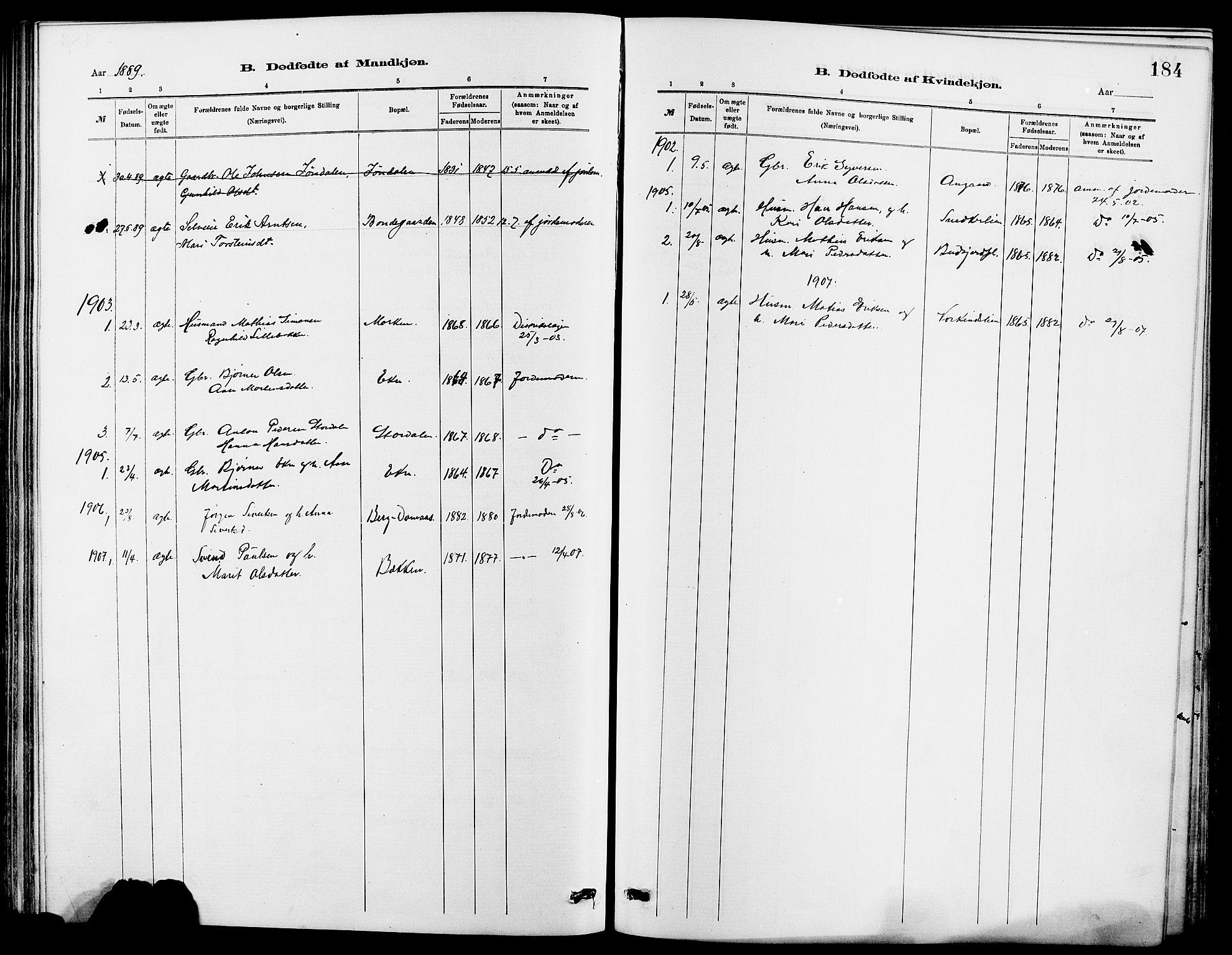 SAH, Dovre prestekontor, Klokkerbok nr. 2, 1881-1907, s. 184