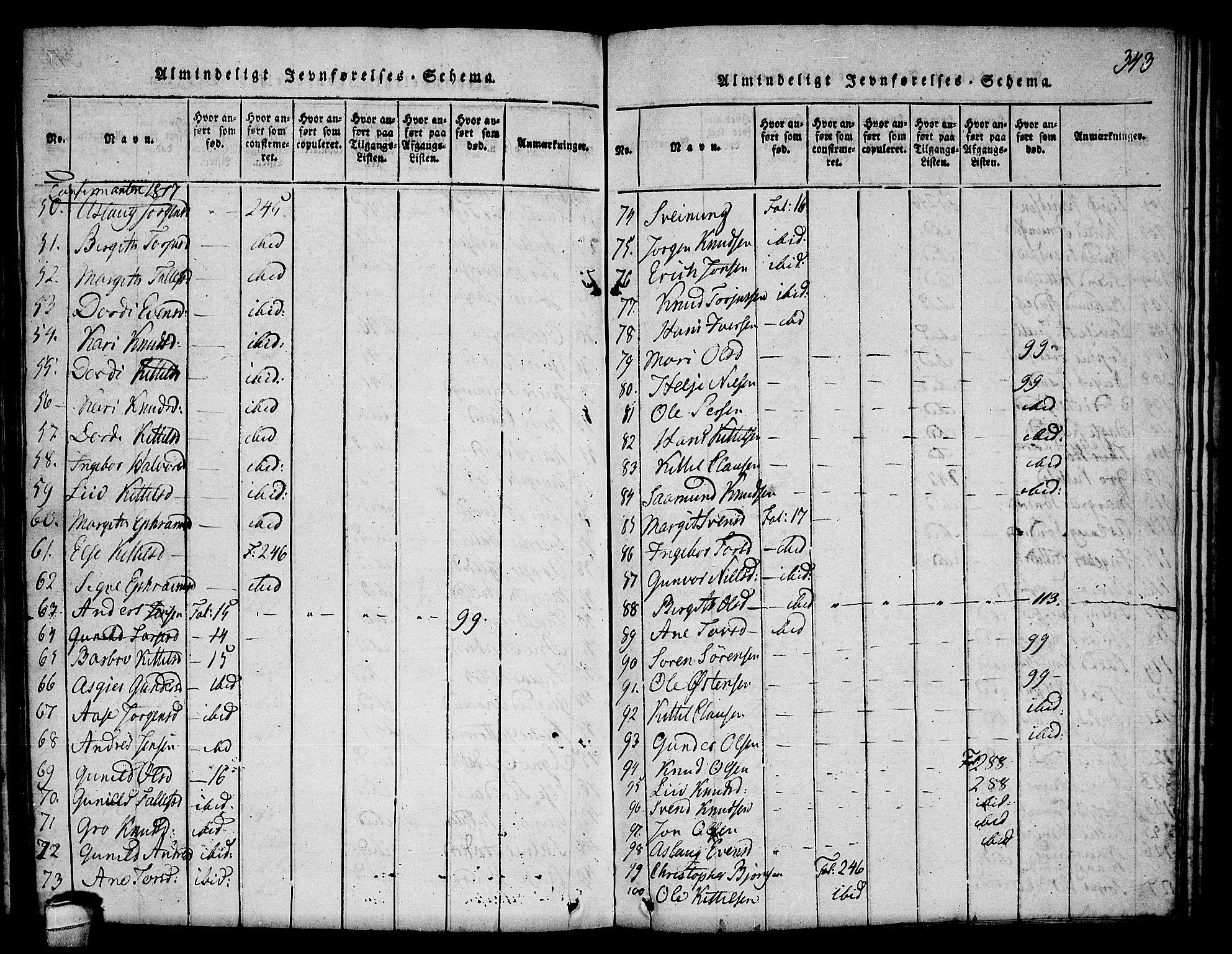 SAKO, Seljord kirkebøker, F/Fa/L0010: Ministerialbok nr. I 10, 1815-1831, s. 343