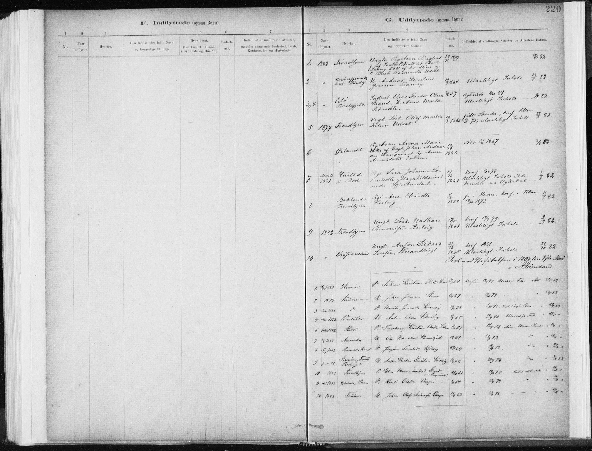 SAT, Ministerialprotokoller, klokkerbøker og fødselsregistre - Sør-Trøndelag, 637/L0558: Ministerialbok nr. 637A01, 1882-1899, s. 220