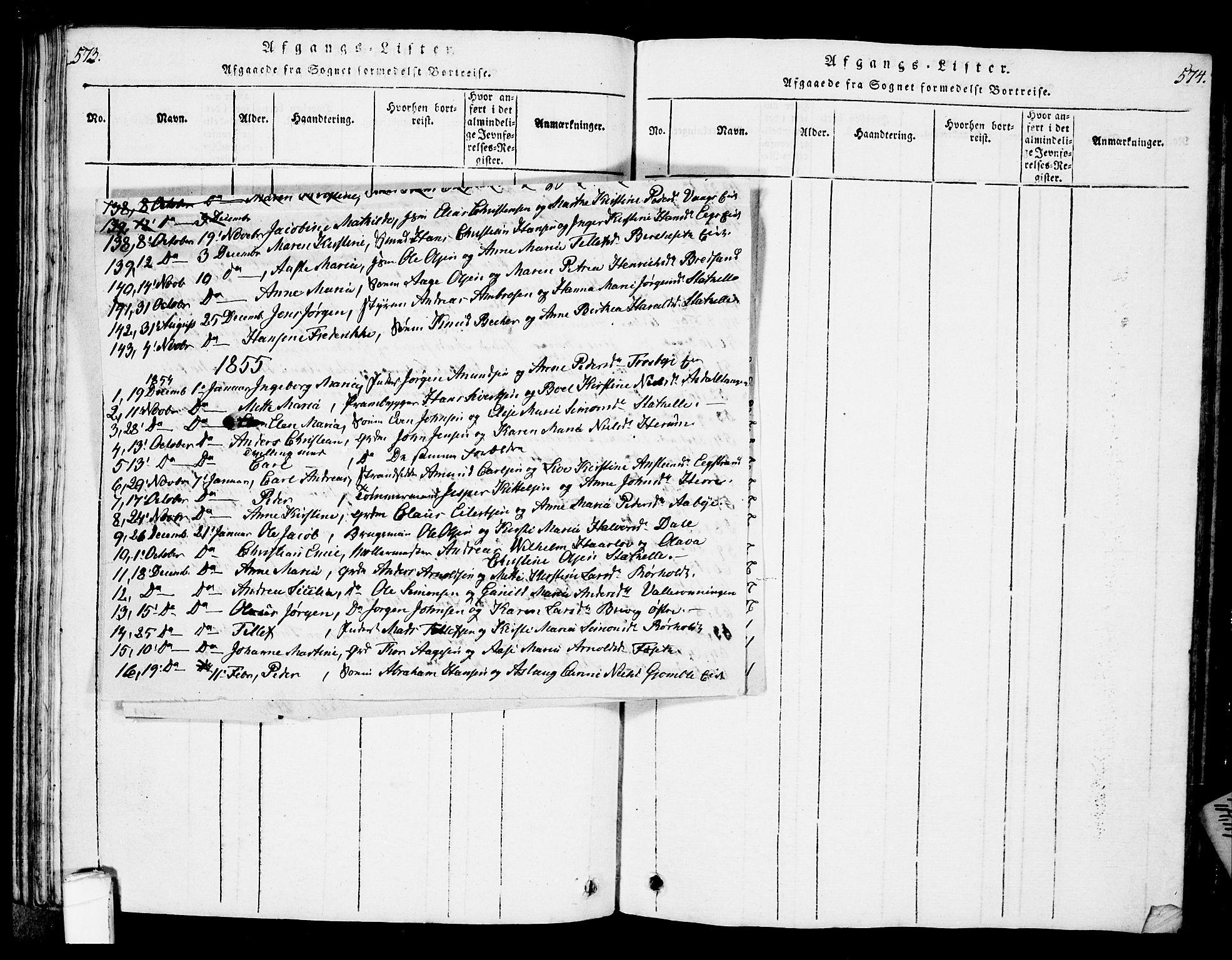 SAKO, Bamble kirkebøker, G/Ga/L0005: Klokkerbok nr. I 5, 1814-1855, s. 573-574