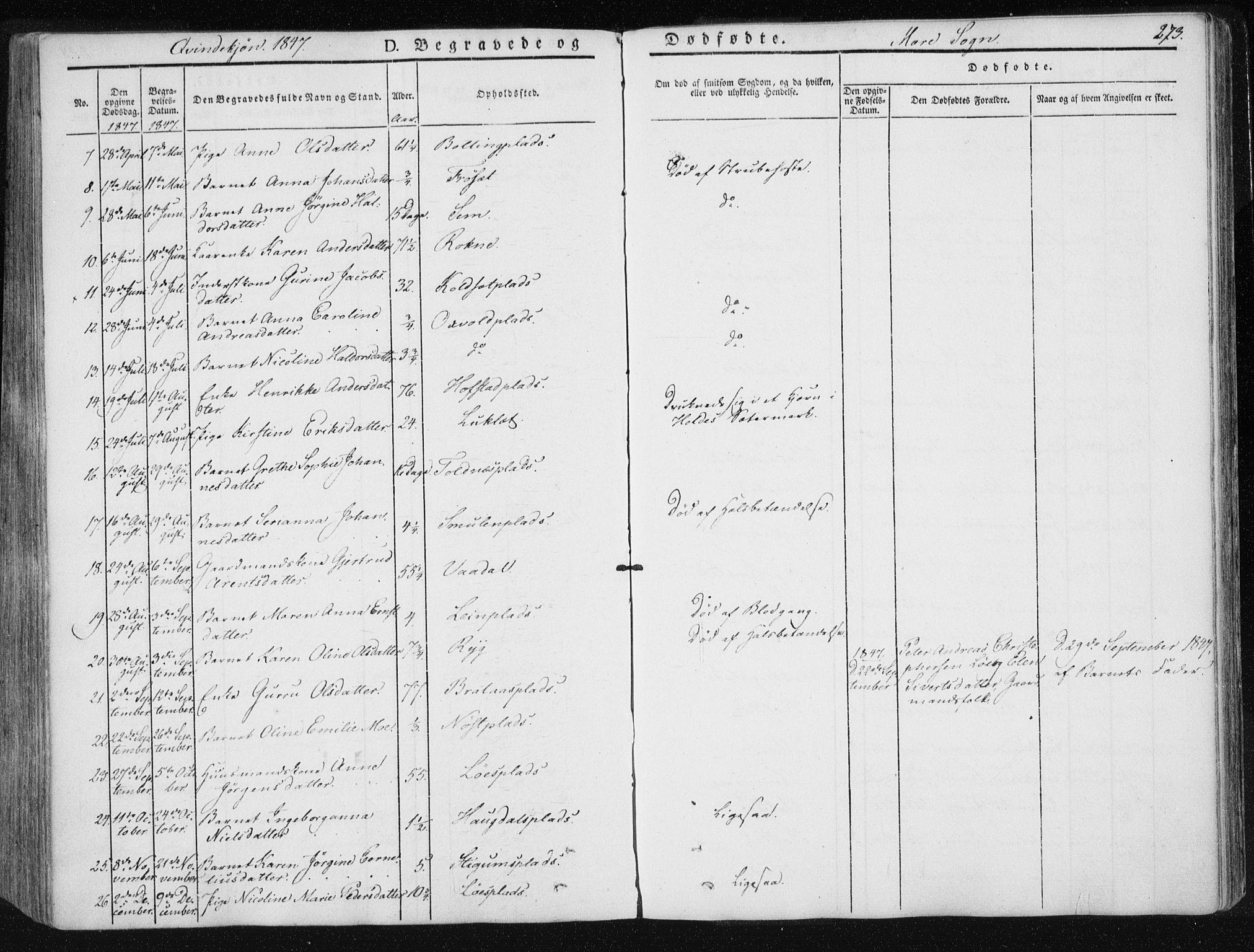 SAT, Ministerialprotokoller, klokkerbøker og fødselsregistre - Nord-Trøndelag, 735/L0339: Ministerialbok nr. 735A06 /1, 1836-1848, s. 273
