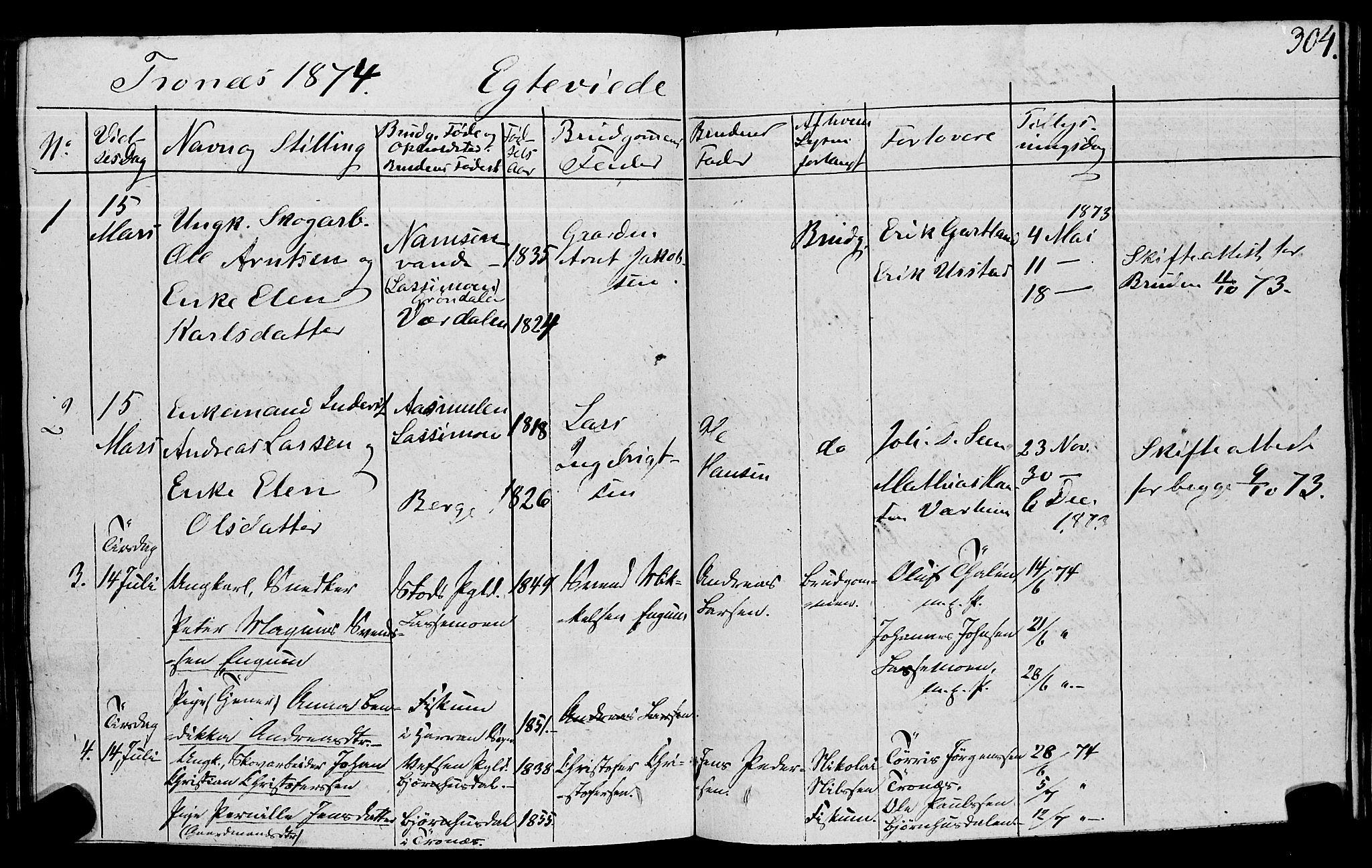 SAT, Ministerialprotokoller, klokkerbøker og fødselsregistre - Nord-Trøndelag, 762/L0538: Ministerialbok nr. 762A02 /2, 1833-1879, s. 304