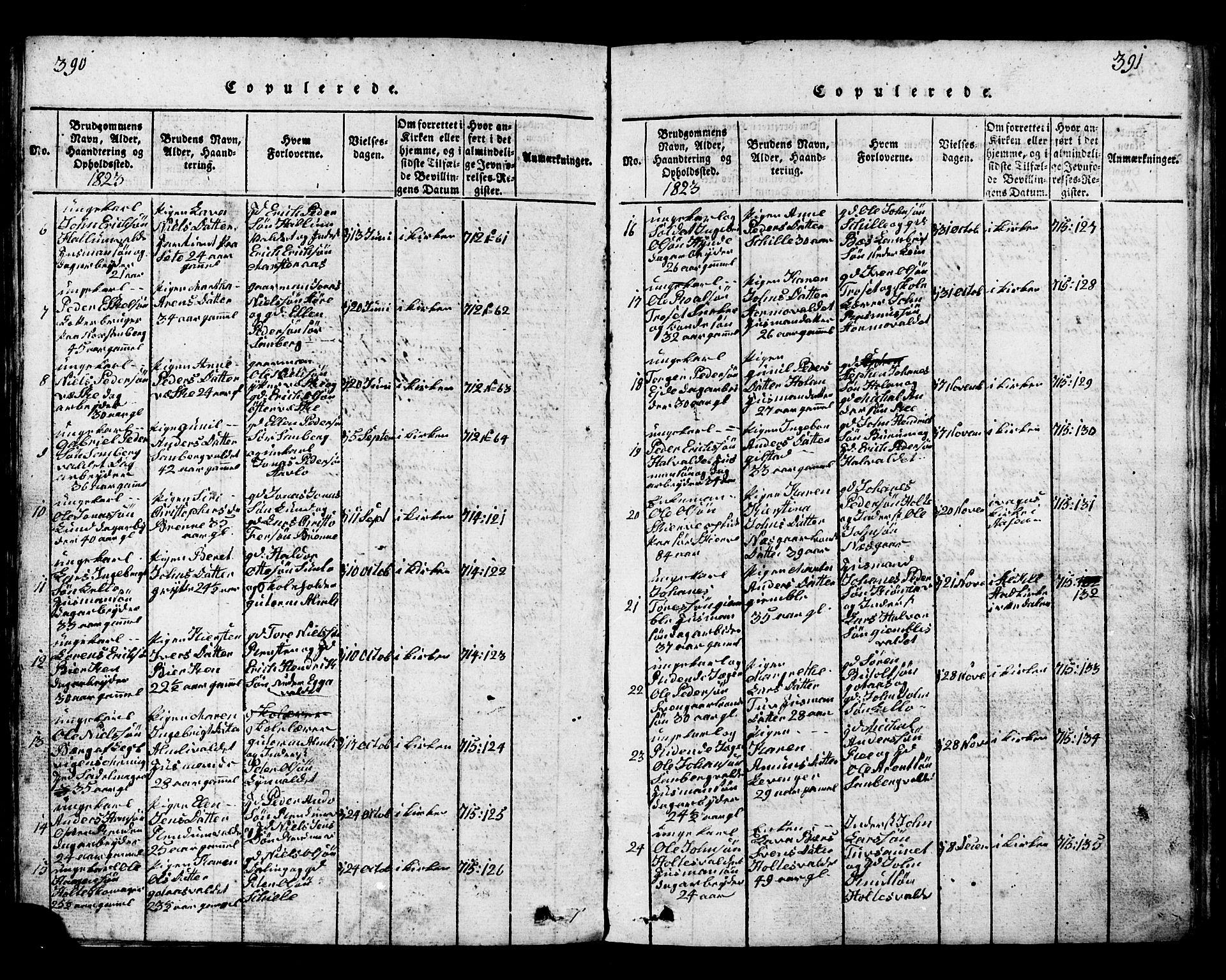 SAT, Ministerialprotokoller, klokkerbøker og fødselsregistre - Nord-Trøndelag, 717/L0169: Klokkerbok nr. 717C01, 1816-1834, s. 390-391