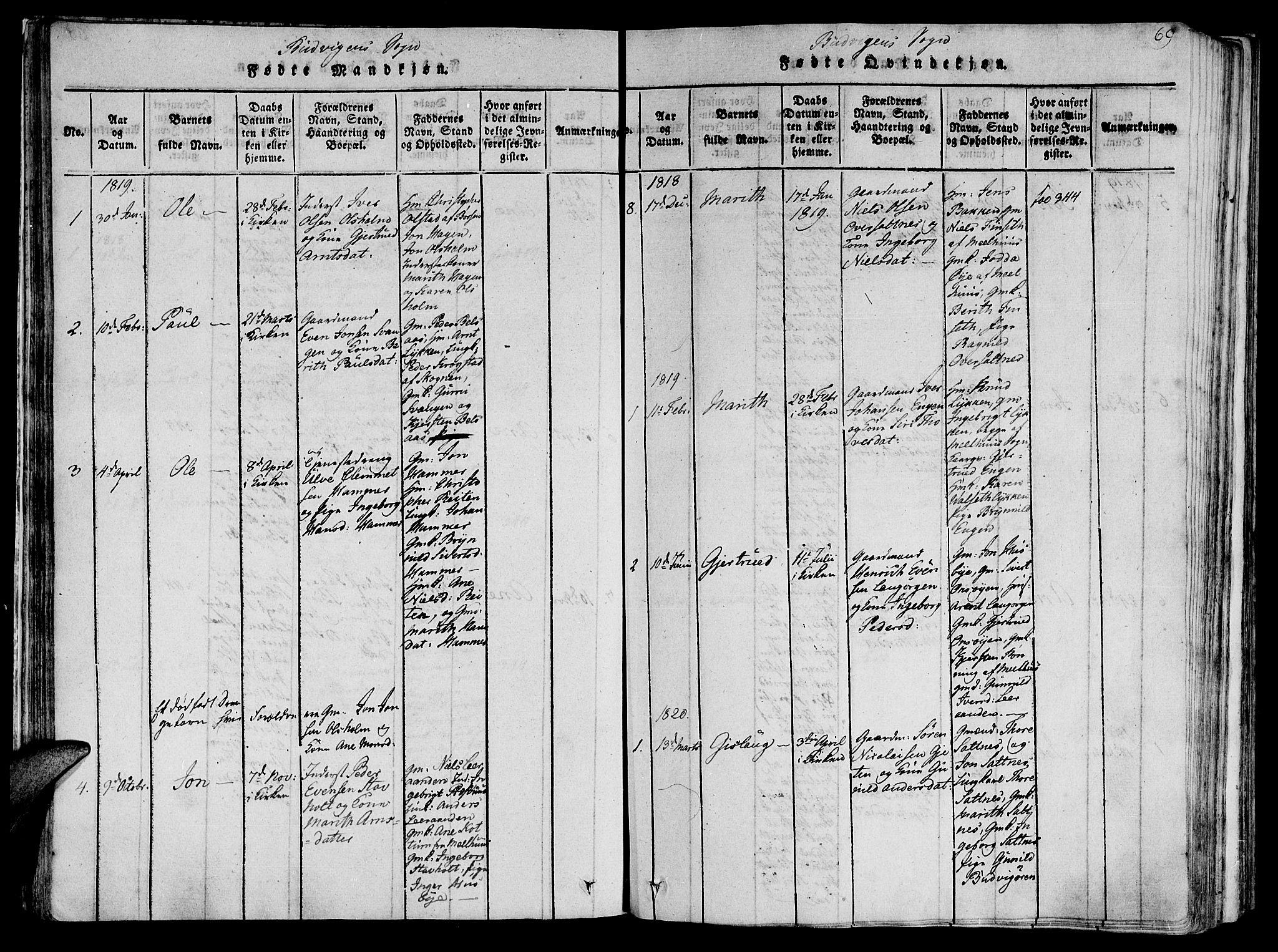 SAT, Ministerialprotokoller, klokkerbøker og fødselsregistre - Sør-Trøndelag, 612/L0373: Ministerialbok nr. 612A06 /2, 1816-1828, s. 69
