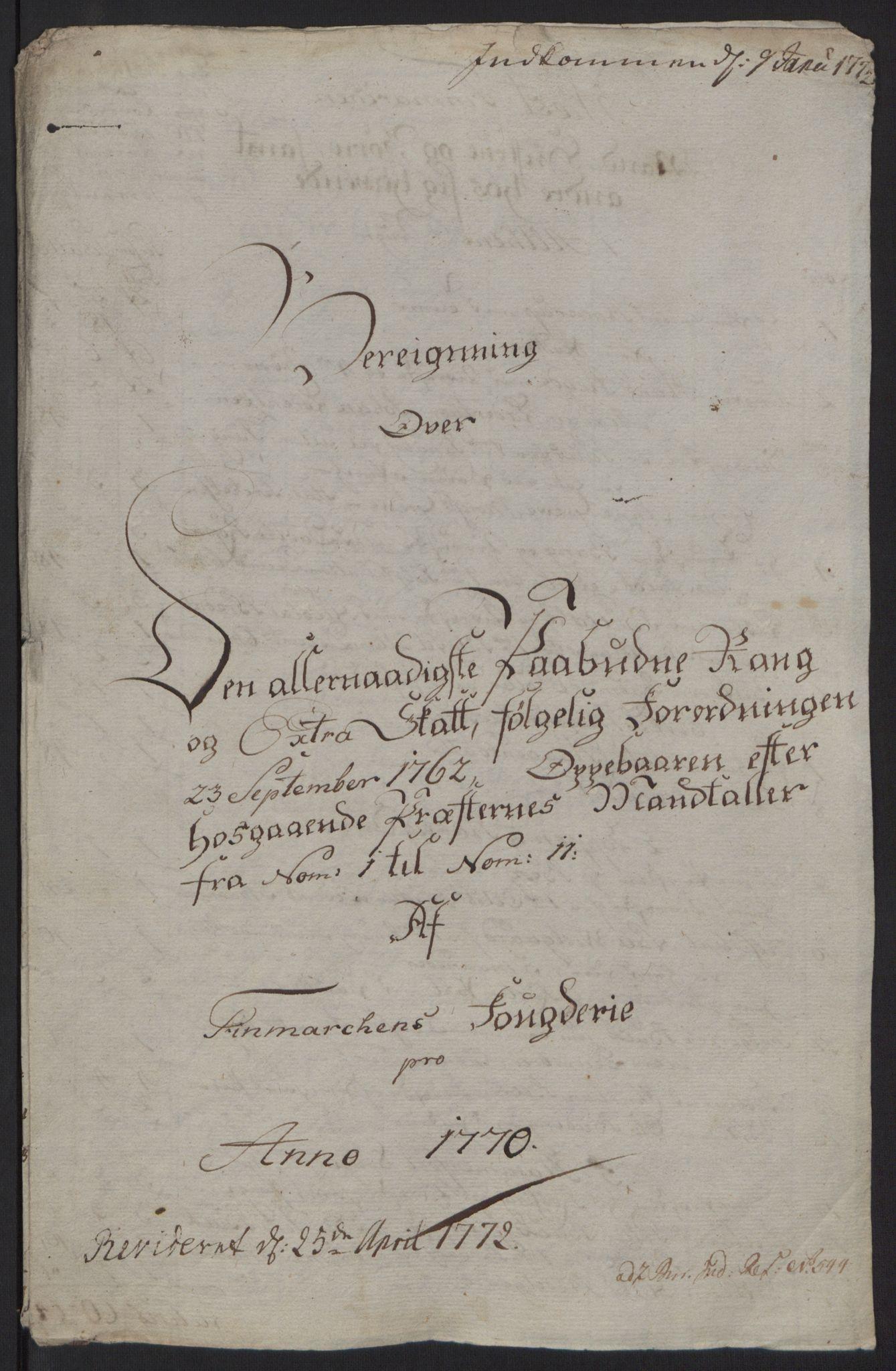 RA, Rentekammeret inntil 1814, Reviderte regnskaper, Fogderegnskap, R69/L4910: Ekstraskatten  Finnmark/Vardøhus, 1762-1772, s. 370